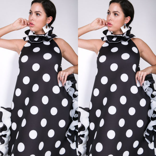 a7540fe26a Black White Frill Neck Polka Dot Dress Top. Social Butterfly Collection
