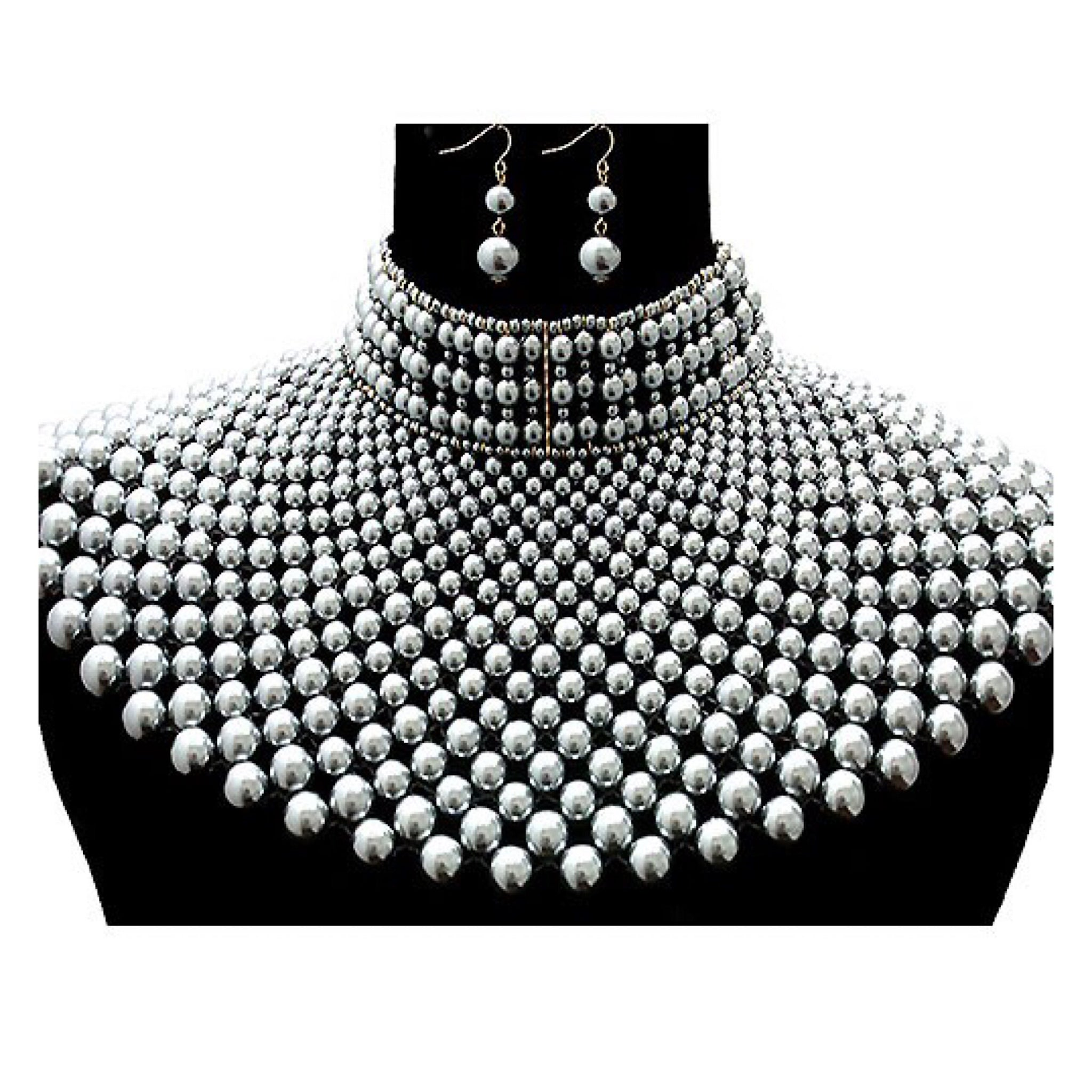 Large Pearl Choker Statement Necklace - socialbutterflycollection-com (743883505725)