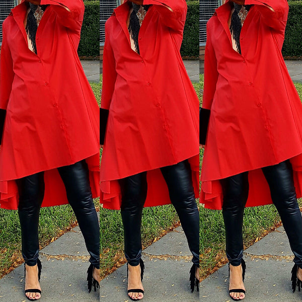 Red High Low Button Down Dress Top - socialbutterflycollection-com