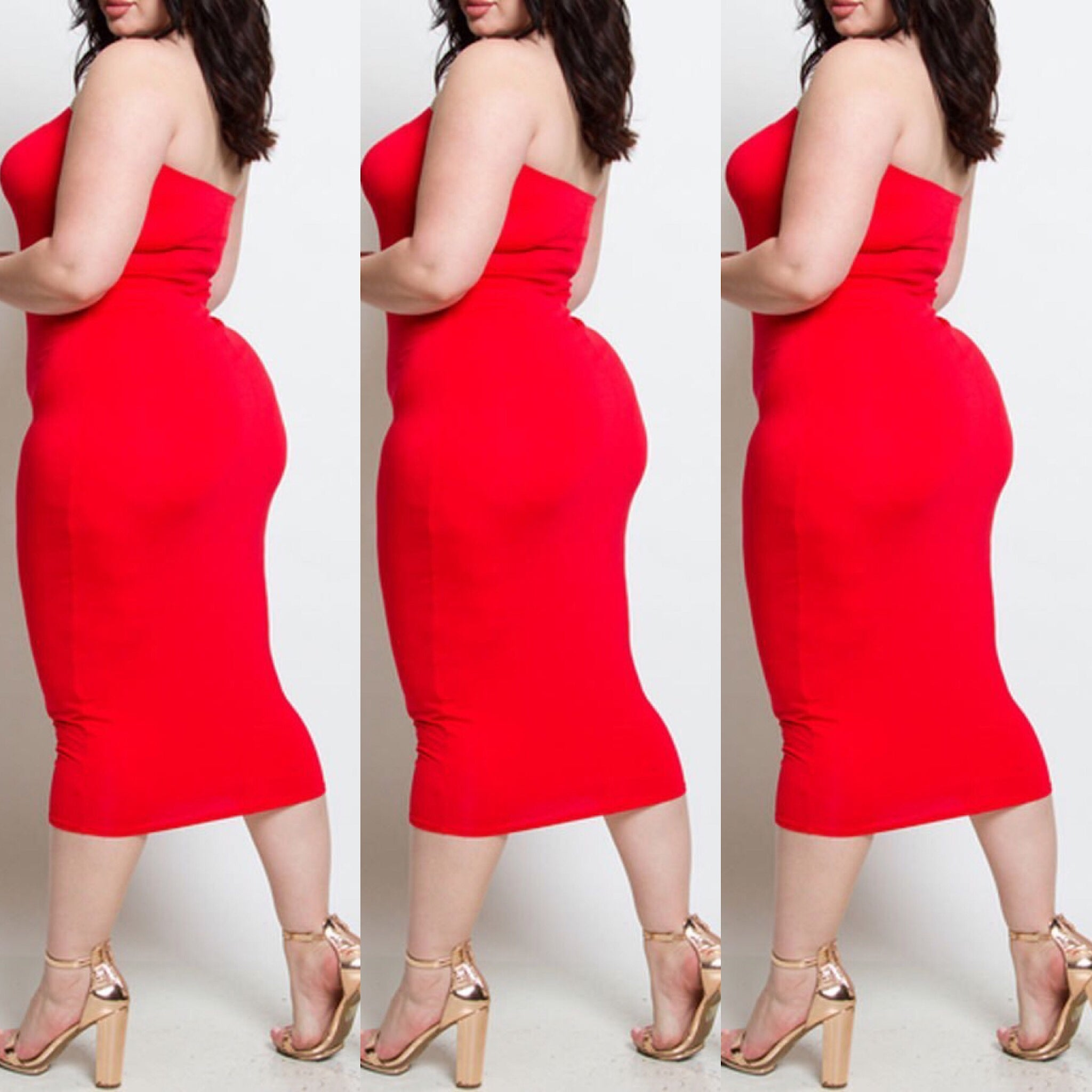 Buy Red Plus Size Strapless Tube Top Dress at Social Butterfly ...