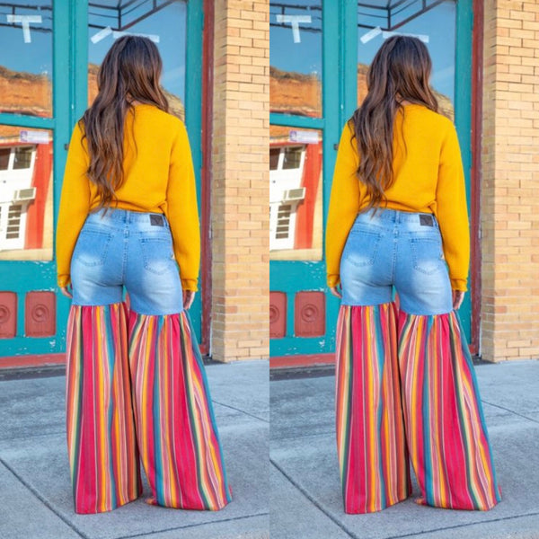 Distressed Light Denim Red Multi Color Palazzo Wide Leg Jeans