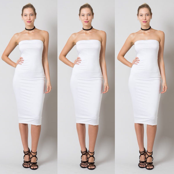 Strapless Off White Plus Size Tube Top Dress - socialbutterflycollection-com (640399540285)