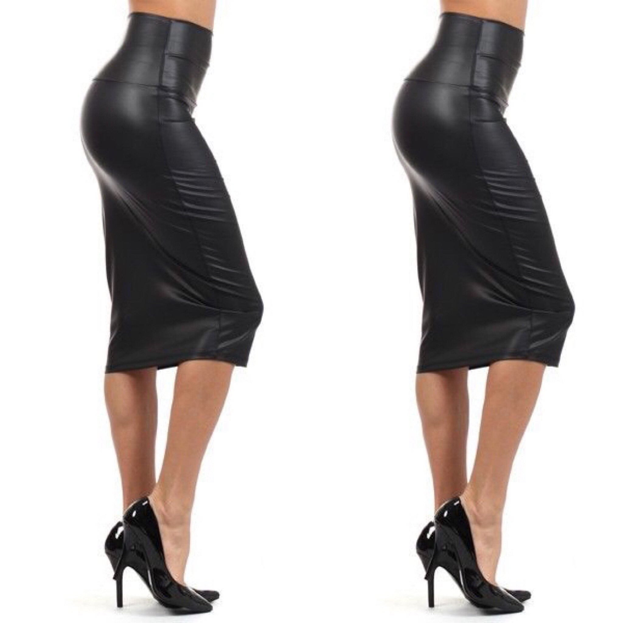 Black Faux Leather Pencil Skirt - socialbutterflycollection-com