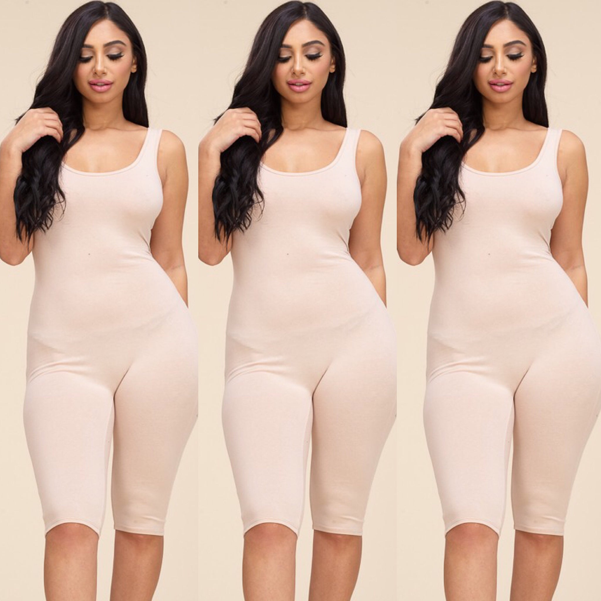 Black, White or Nude Basic Solid Color Capri Jumpsuit