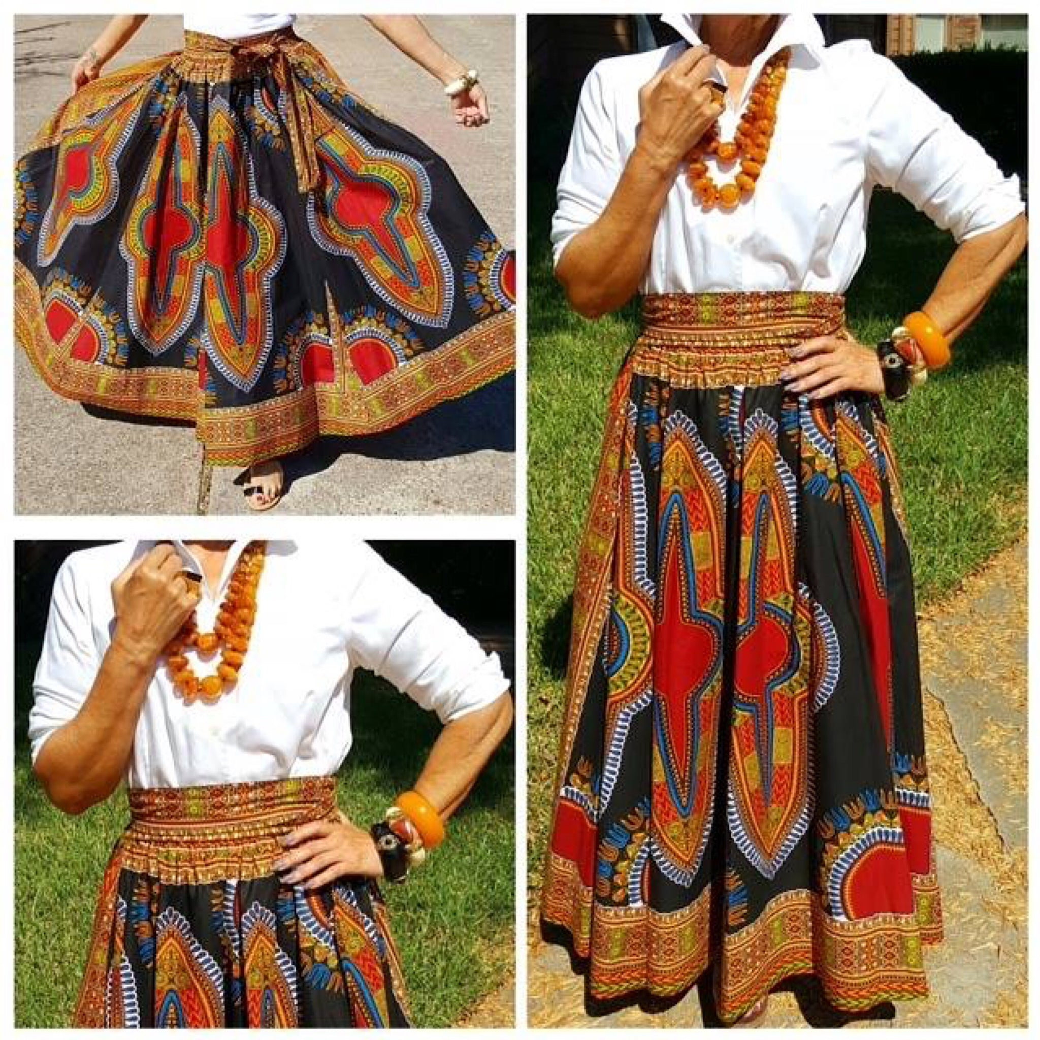 Multi Color Dashiki African Print Maxi Skirt - socialbutterflycollection-com (1813627207741)