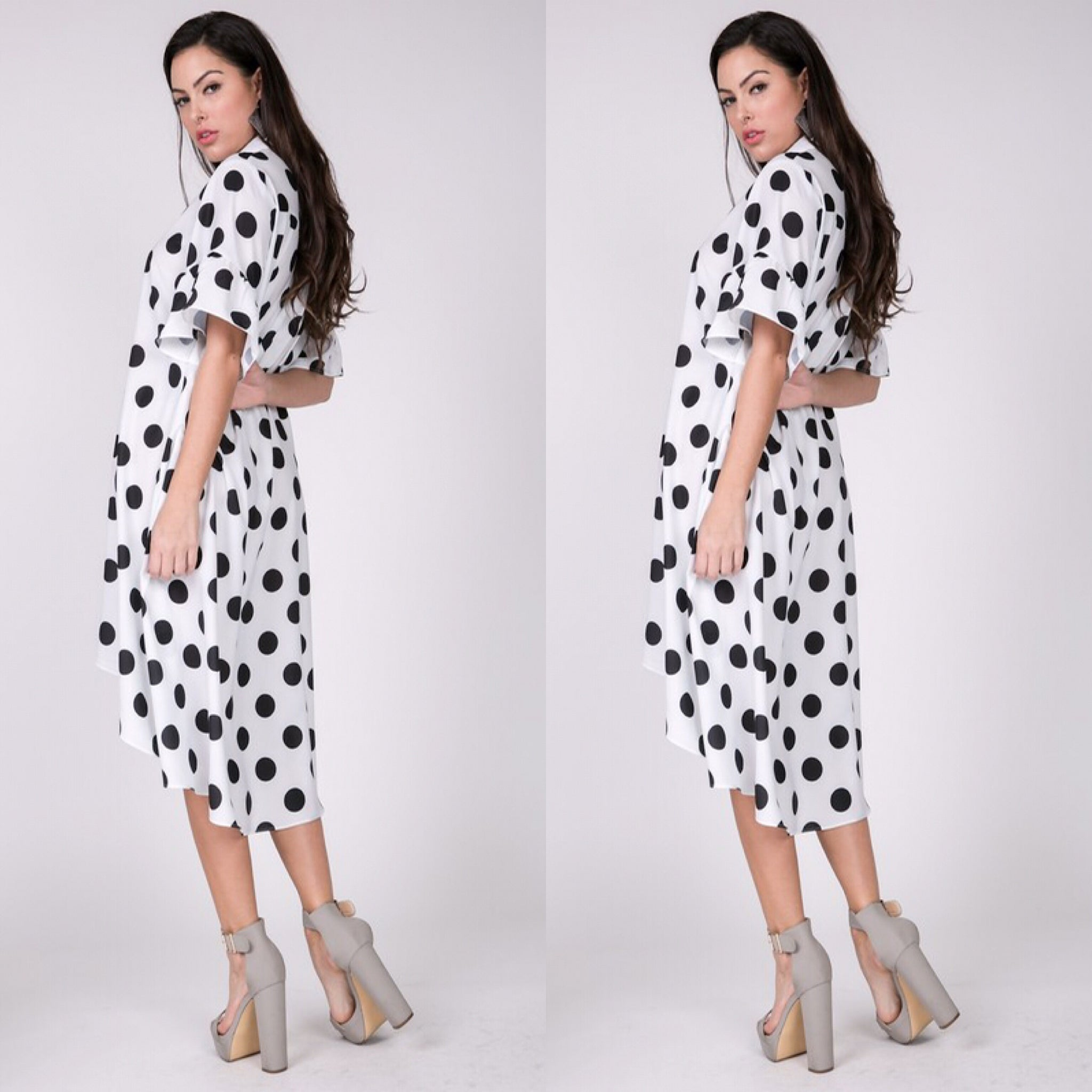 Black White Polka Dot Button Down High Low Dress Top - socialbutterflycollection-com (1874671796285)