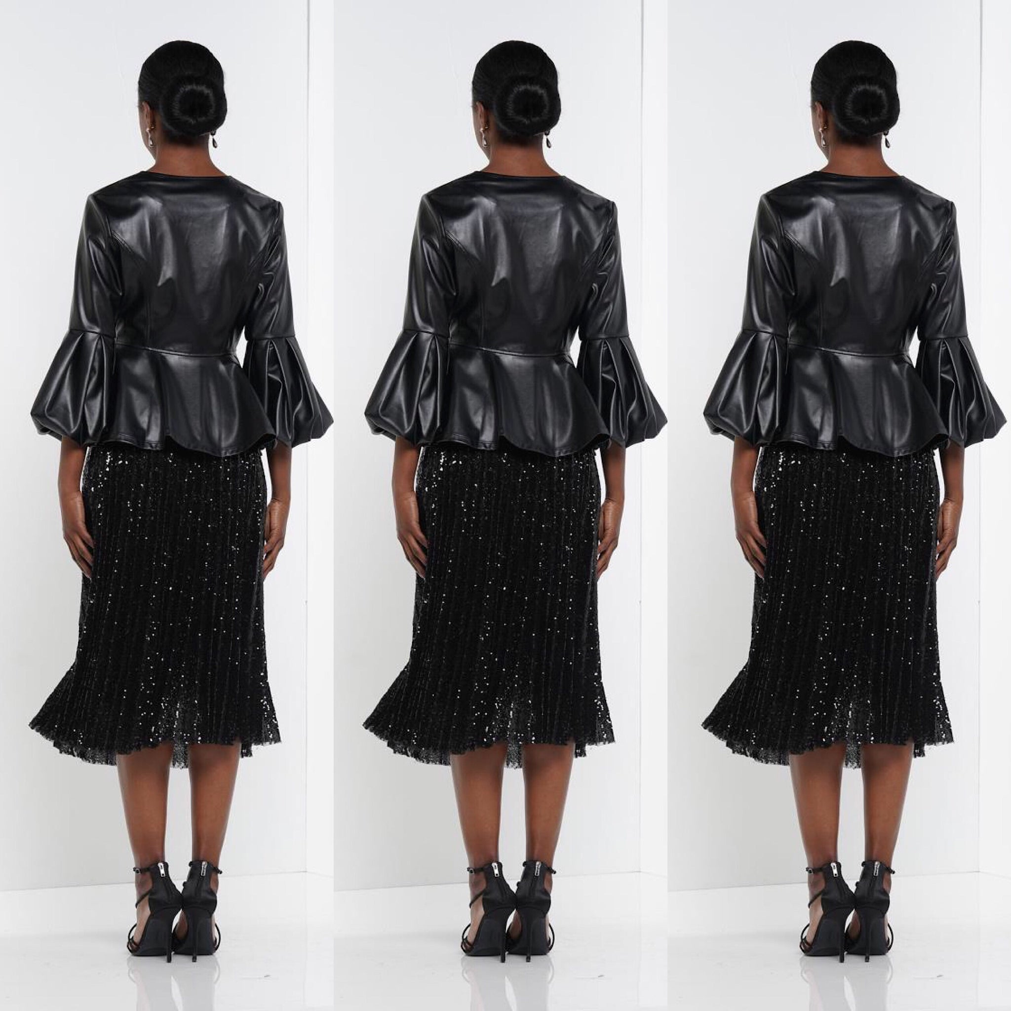 Sheer Pleated Black Sequin Skirt - socialbutterflycollection-com