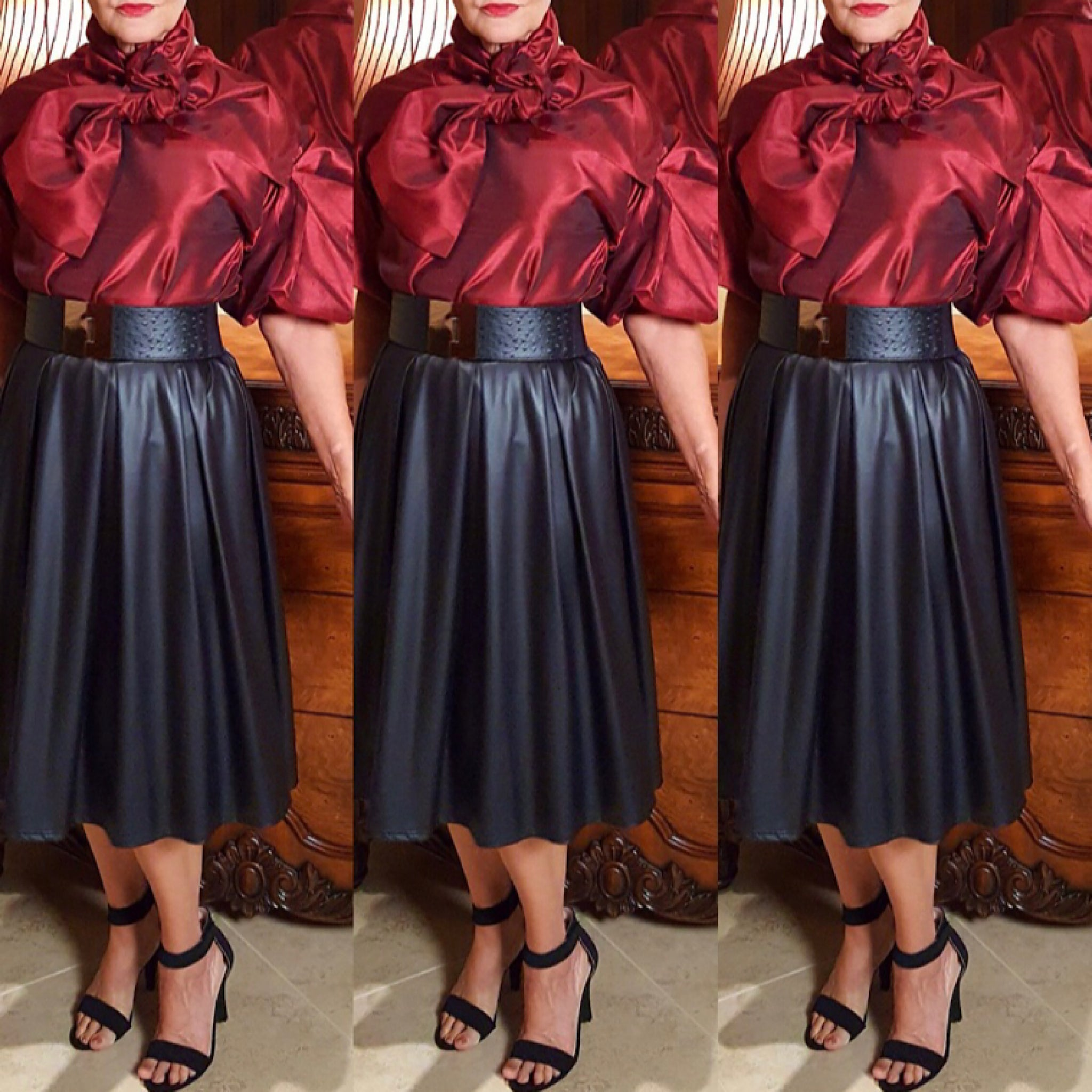 Black Faux Leather A-Line Skirt