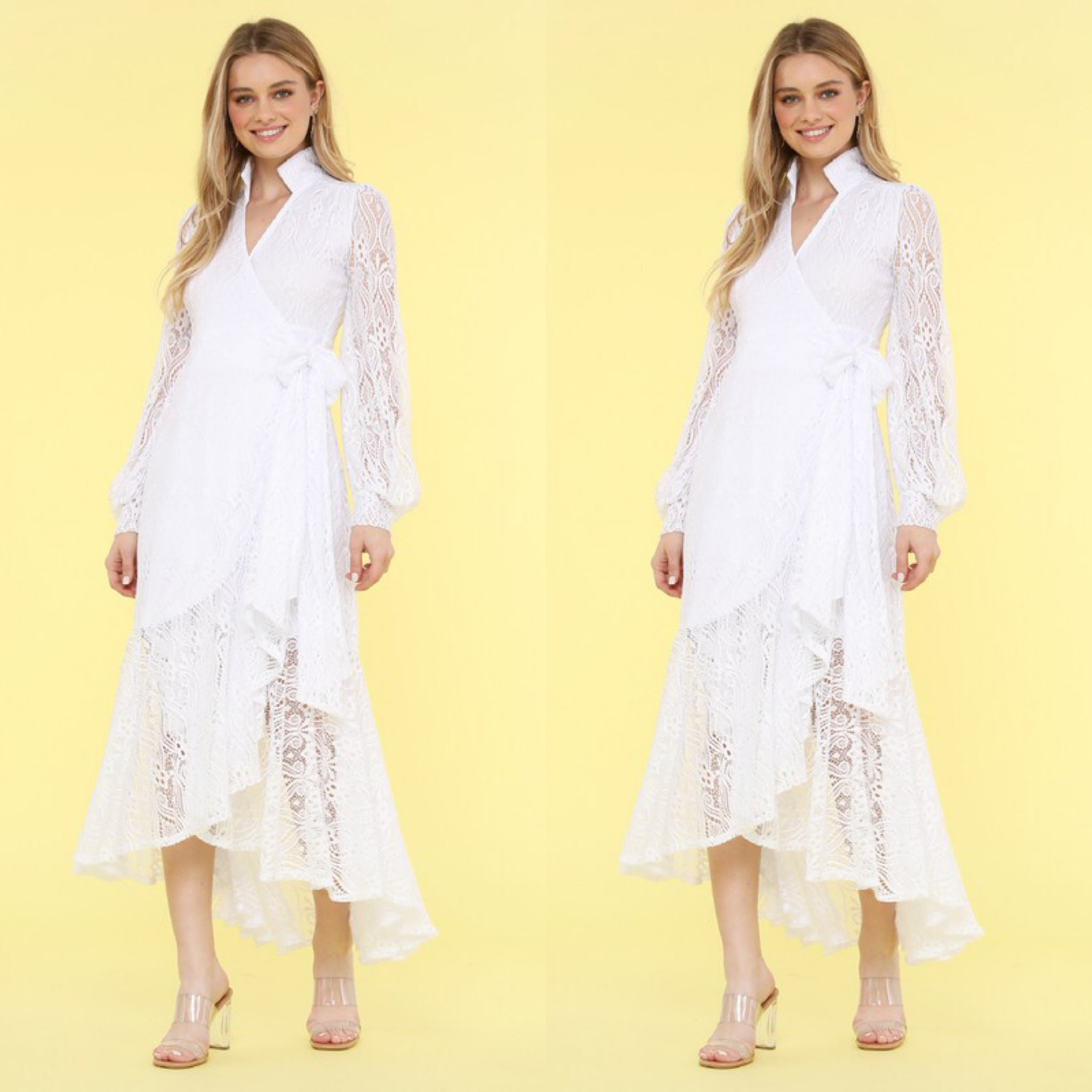 White Lace Wrap Dress (4424650195005)