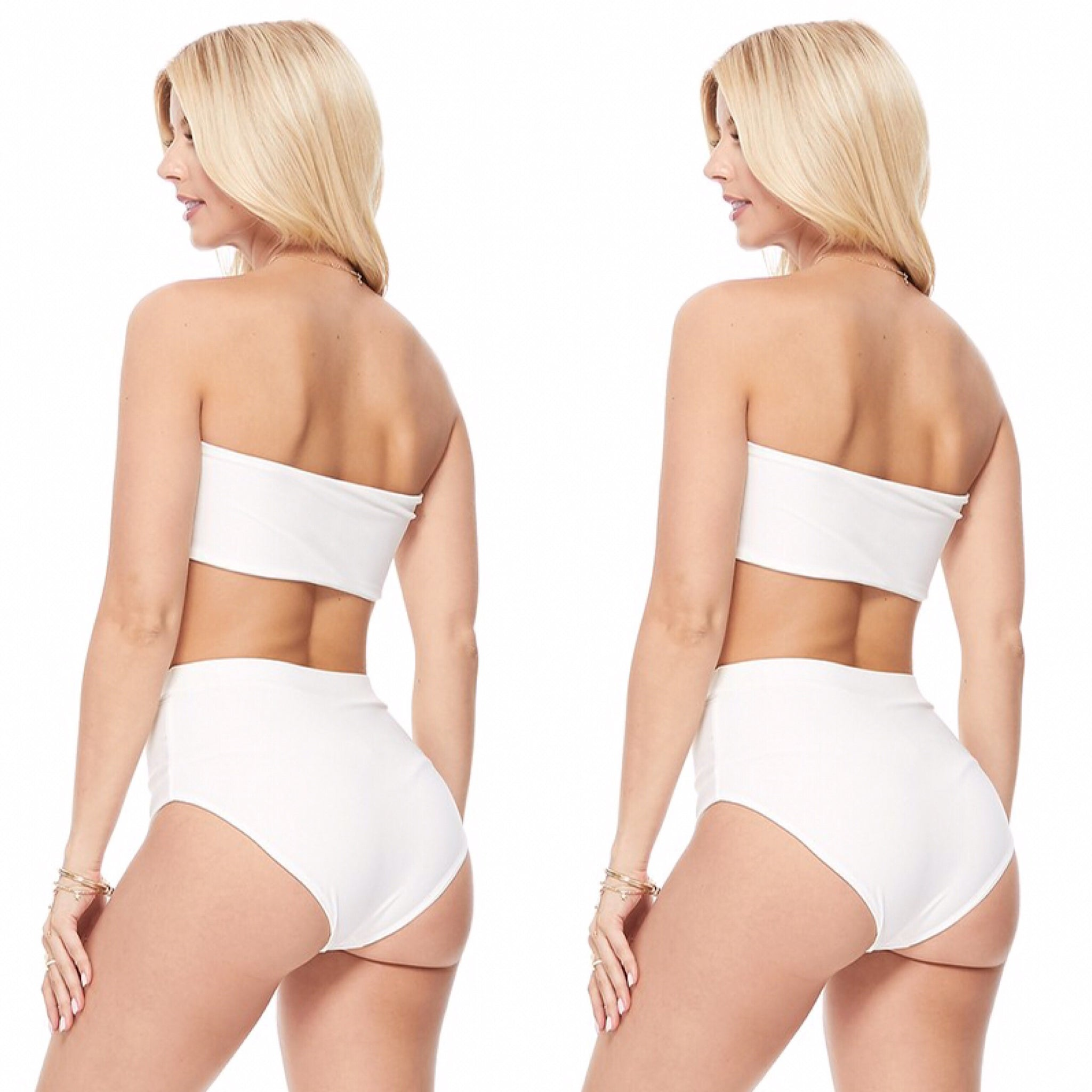 White Two Piece Pool Side Swimsuit - socialbutterflycollection-com