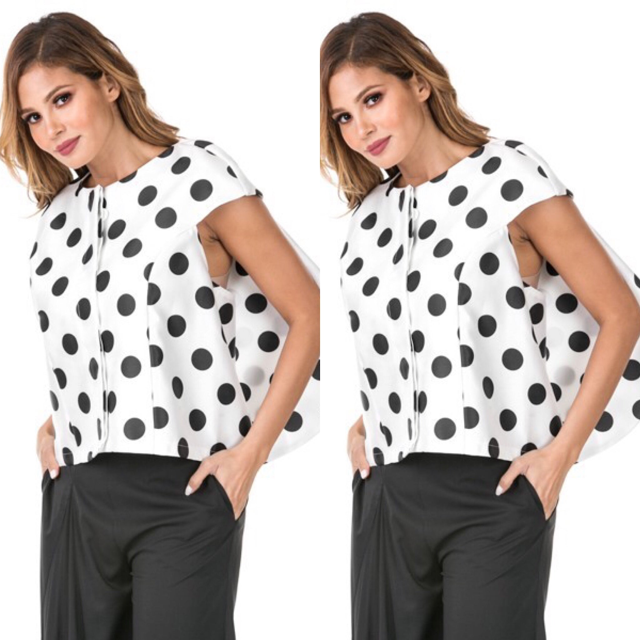 White Black Polka Dot Cascading Back Jacket - socialbutterflycollection-com (1874669666365)