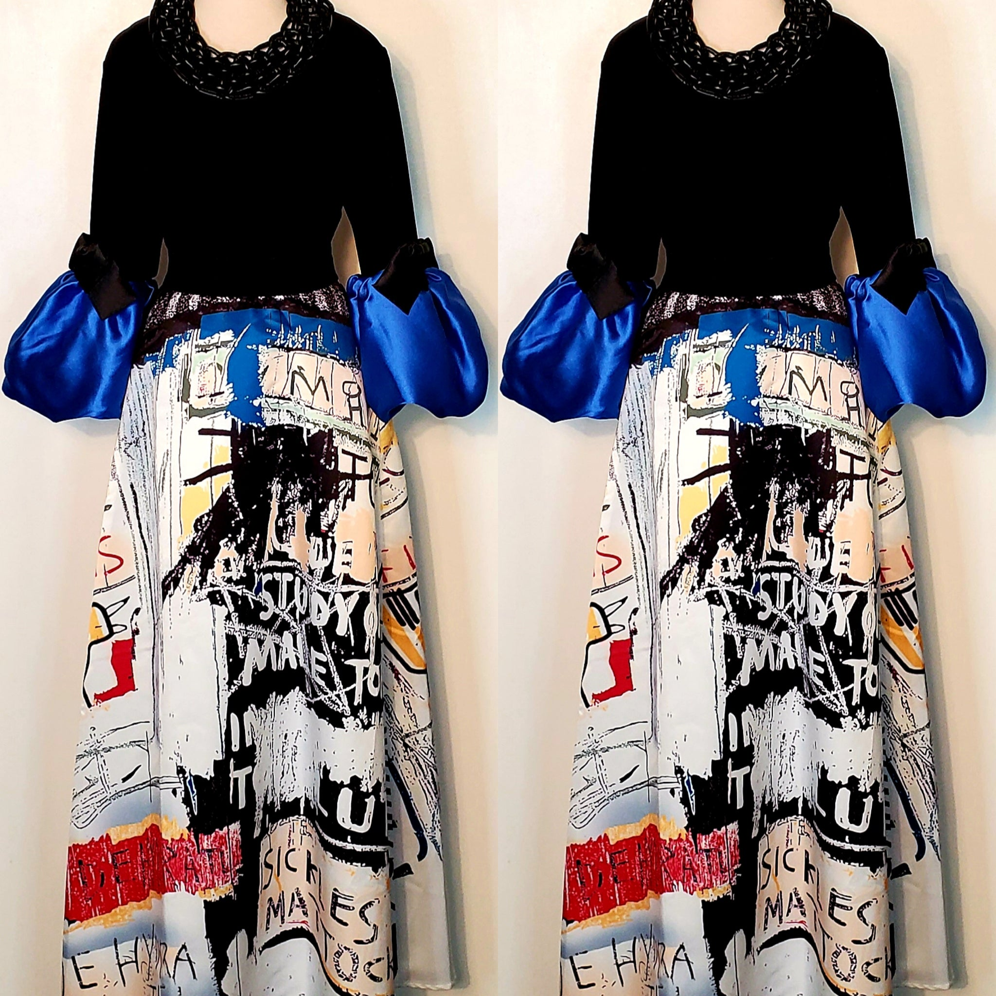 Black Royal Blue Puffy Sleeve Top (4374067052605)