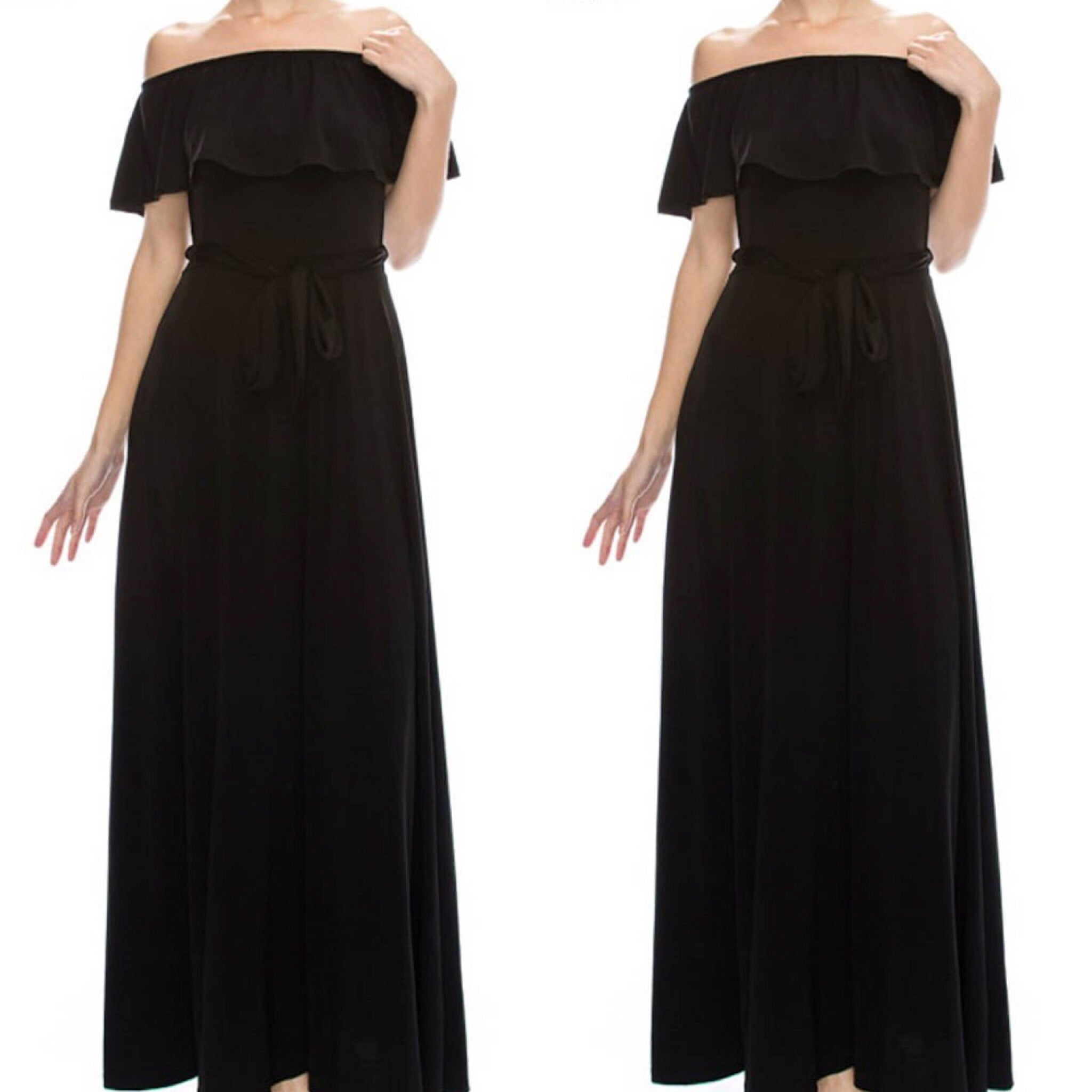 Black Off The Shoulder Long Maxi Dress - socialbutterflycollection-com