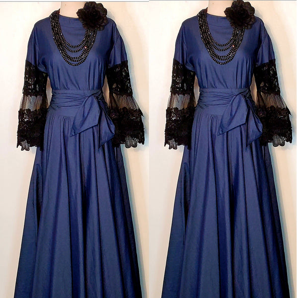 Denim Black Lace Sleeve Maxi Dress (4374068559933)