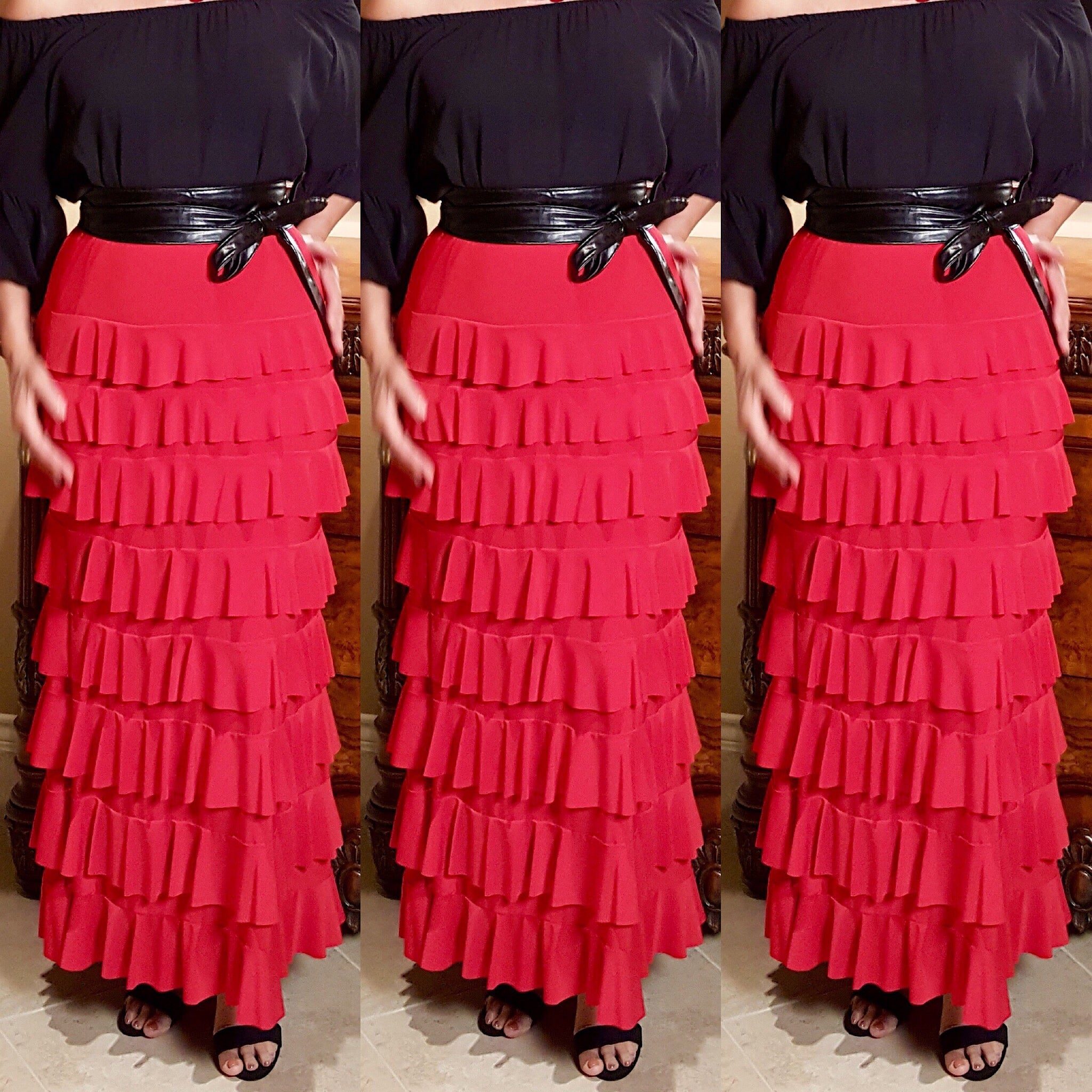Red Layered  Maxi Skirt Dress - socialbutterflycollection-com