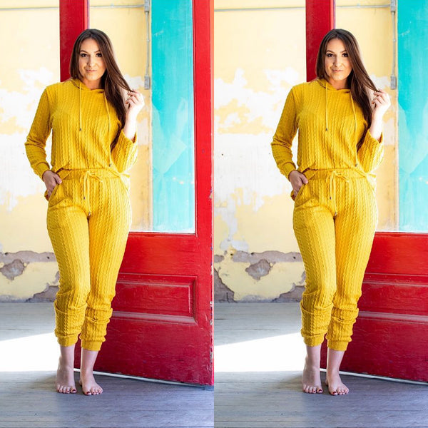 Yellow Plus Size Two Piece Hoodie Pant Set
