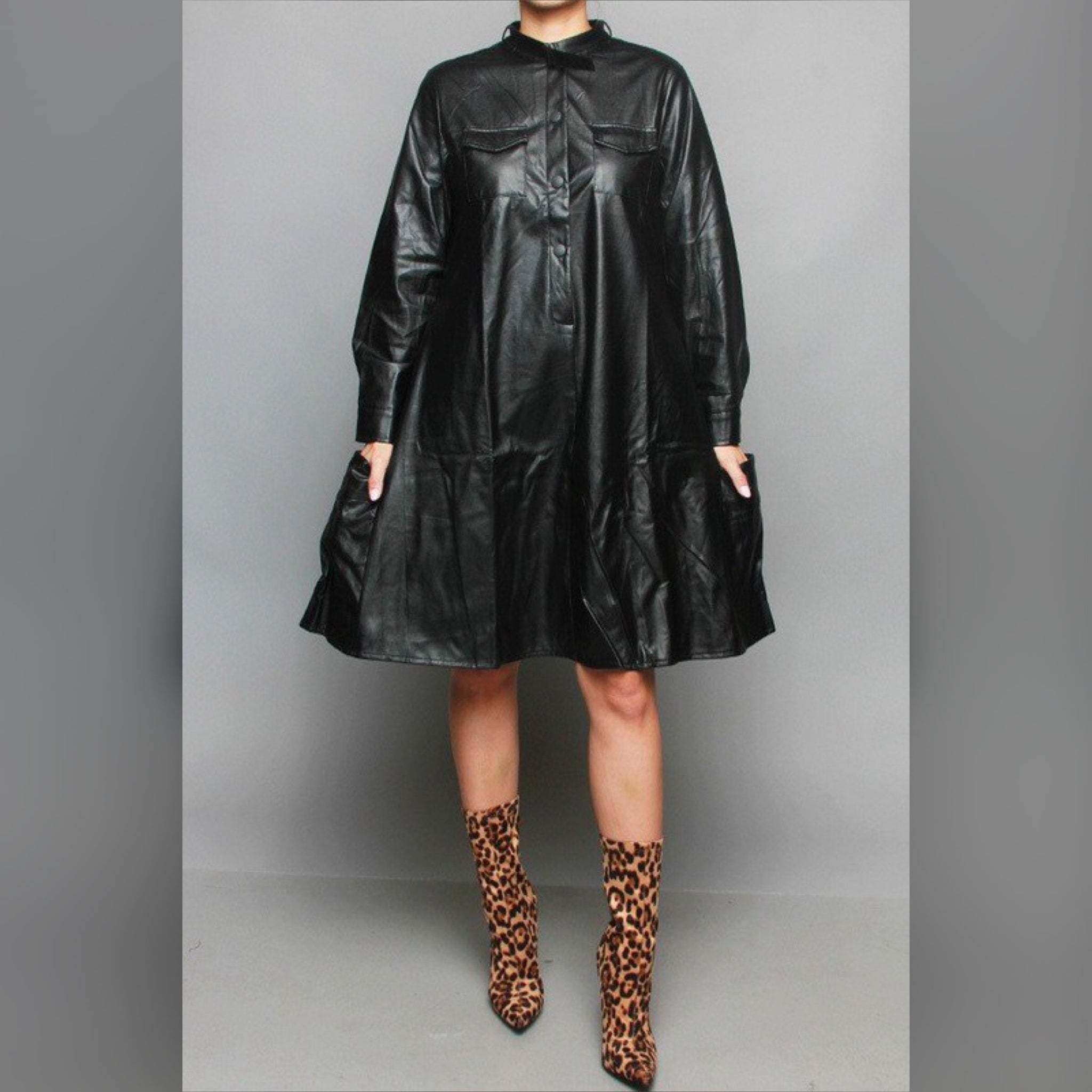Black Faux Leather Dress Top