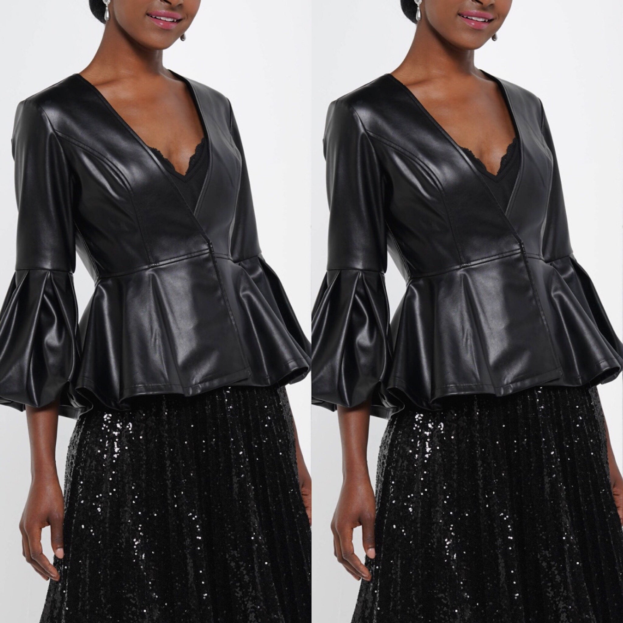 Black Puffy Sleeve Faux Leather Jacket - socialbutterflycollection-com