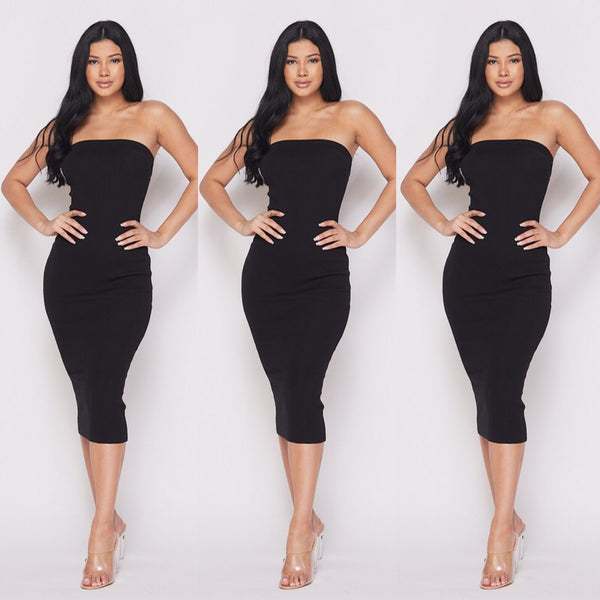 Black Plus Size Strapless Tube Top Dress - socialbutterflycollection-com (163165536270)