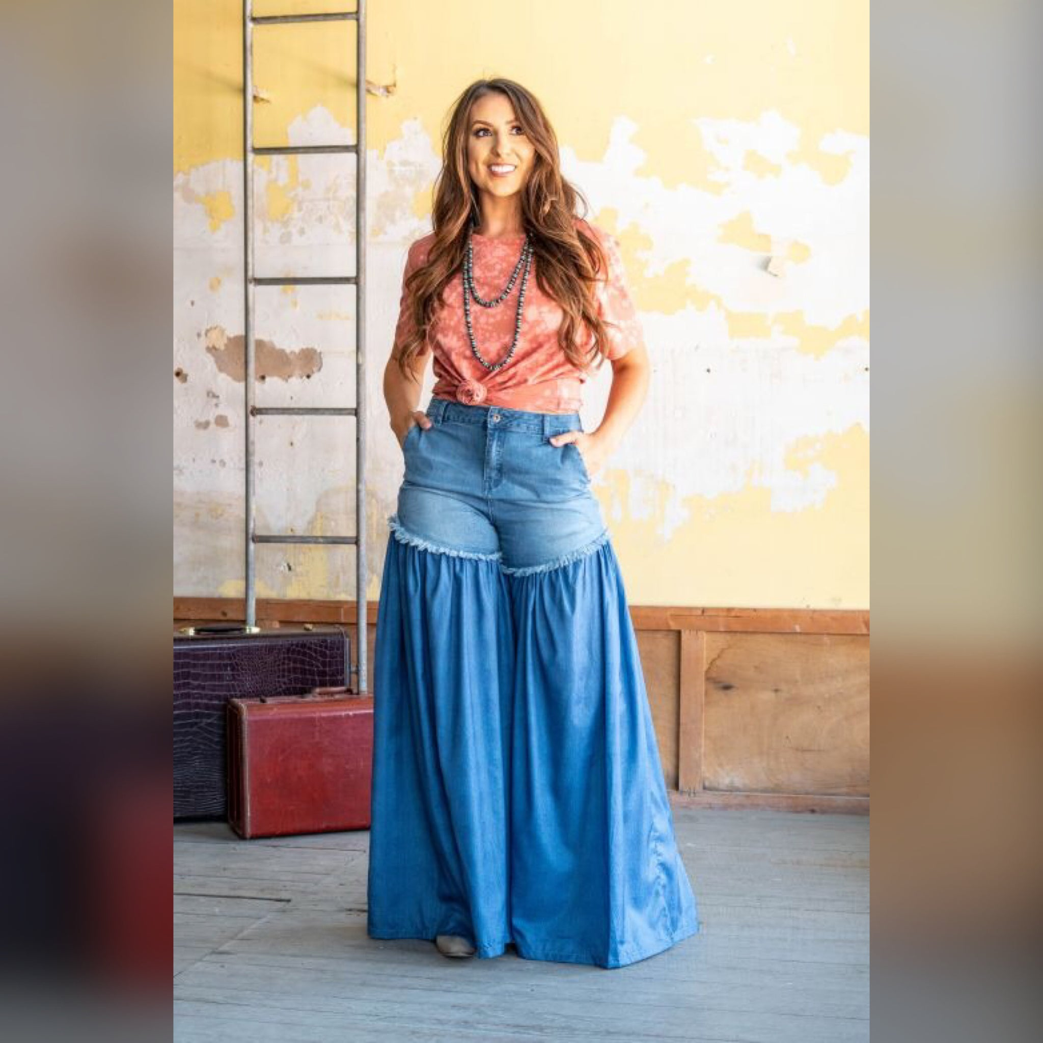 Blue Denim Jean Blue  Palazzo Wide Leg Pants