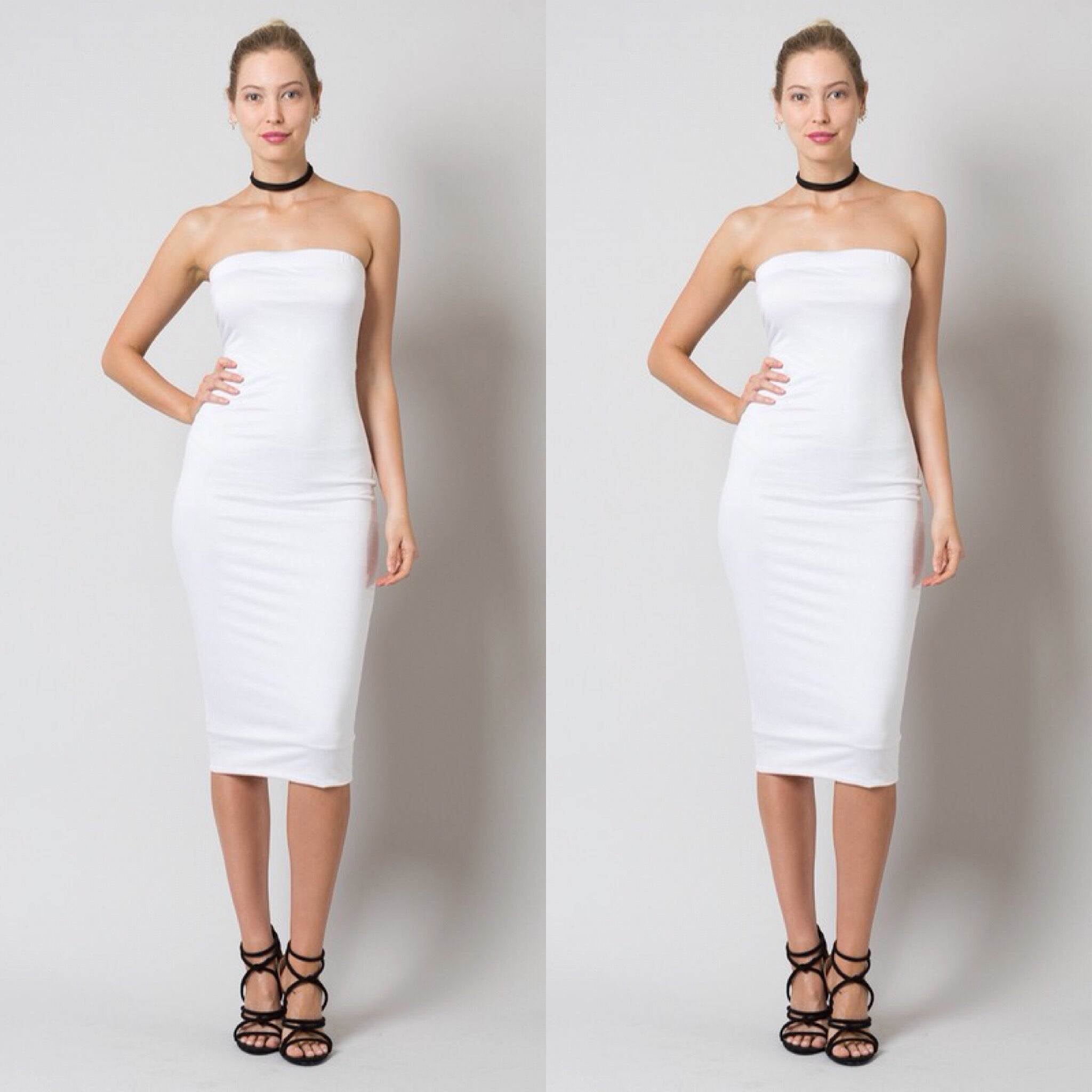 Buy Strapless Off White Plus Size Tube Top Dress at Social ...