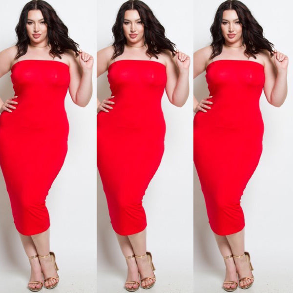 Red Plus Size Strapless Tube Top Dress - socialbutterflycollection-com (163165011982)