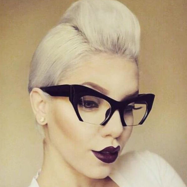 Cat Eye Semi Rimless Glasses - socialbutterflycollection-com