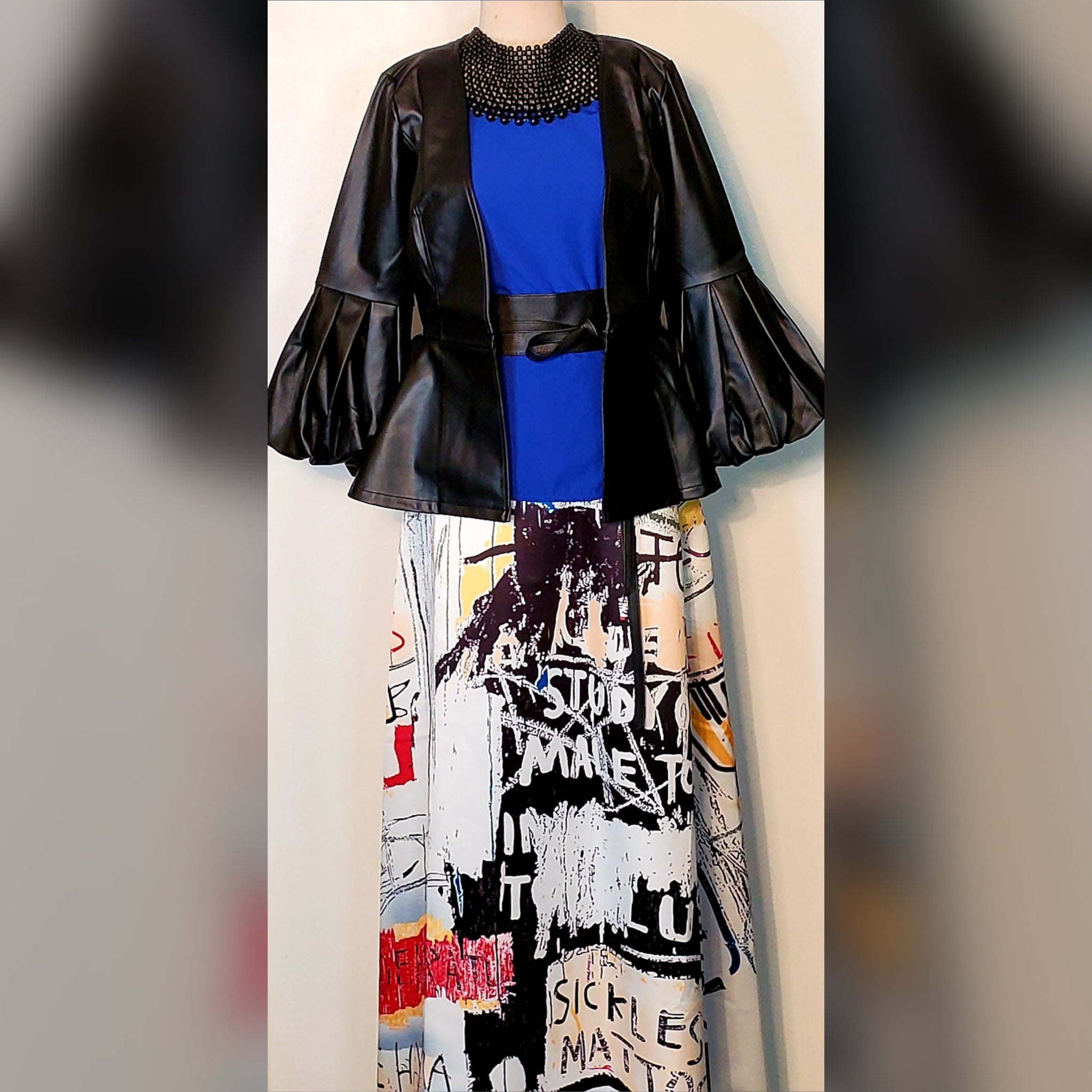 Black Puffy Sleeve Faux Leather Jacket