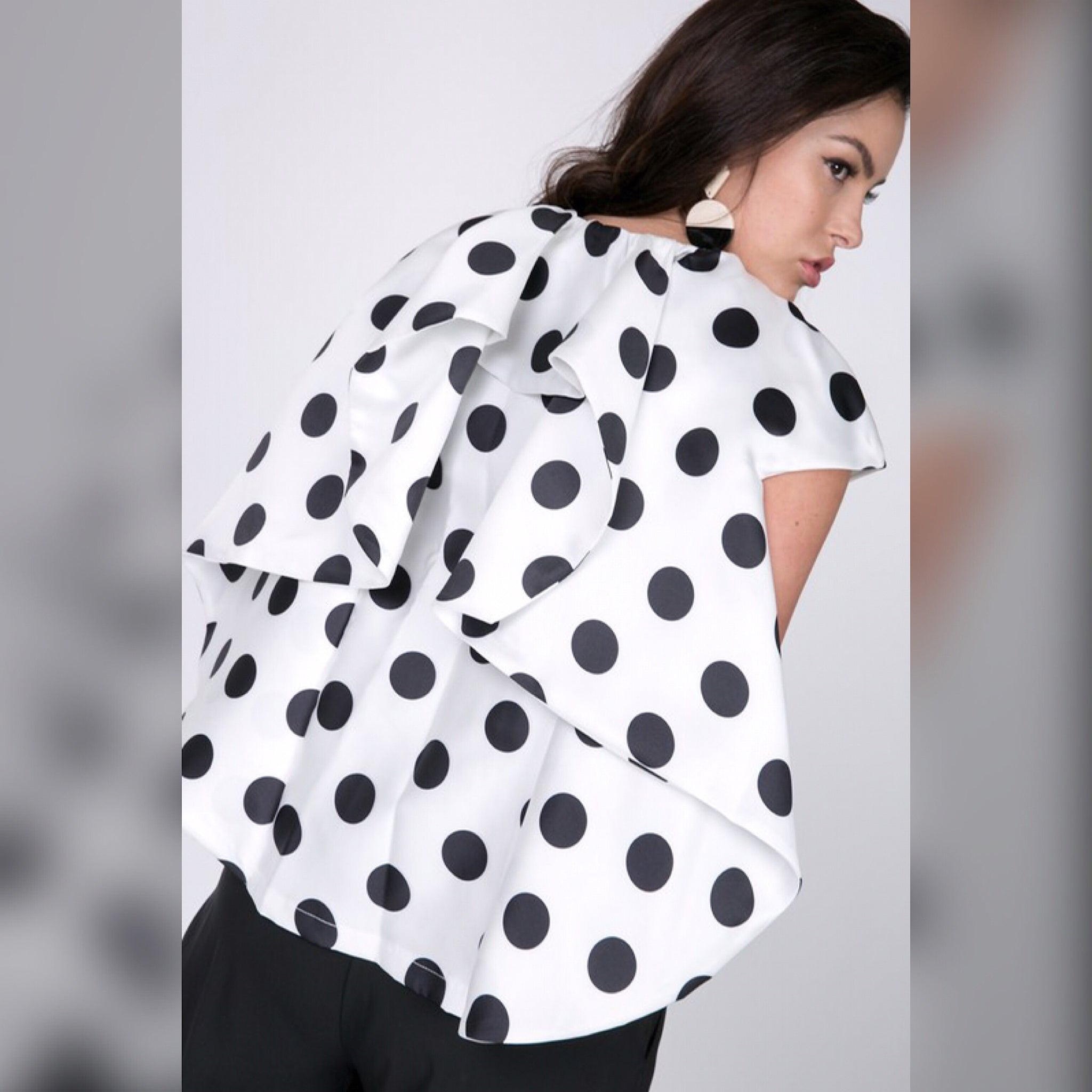 White Black Polka Dot Cascading Back Jacket