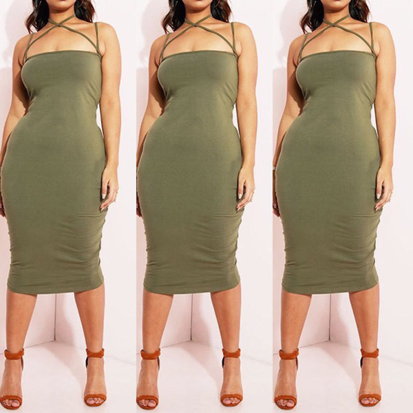 Olive Green Strapless Tube Top Midi Dress - socialbutterflycollection-com
