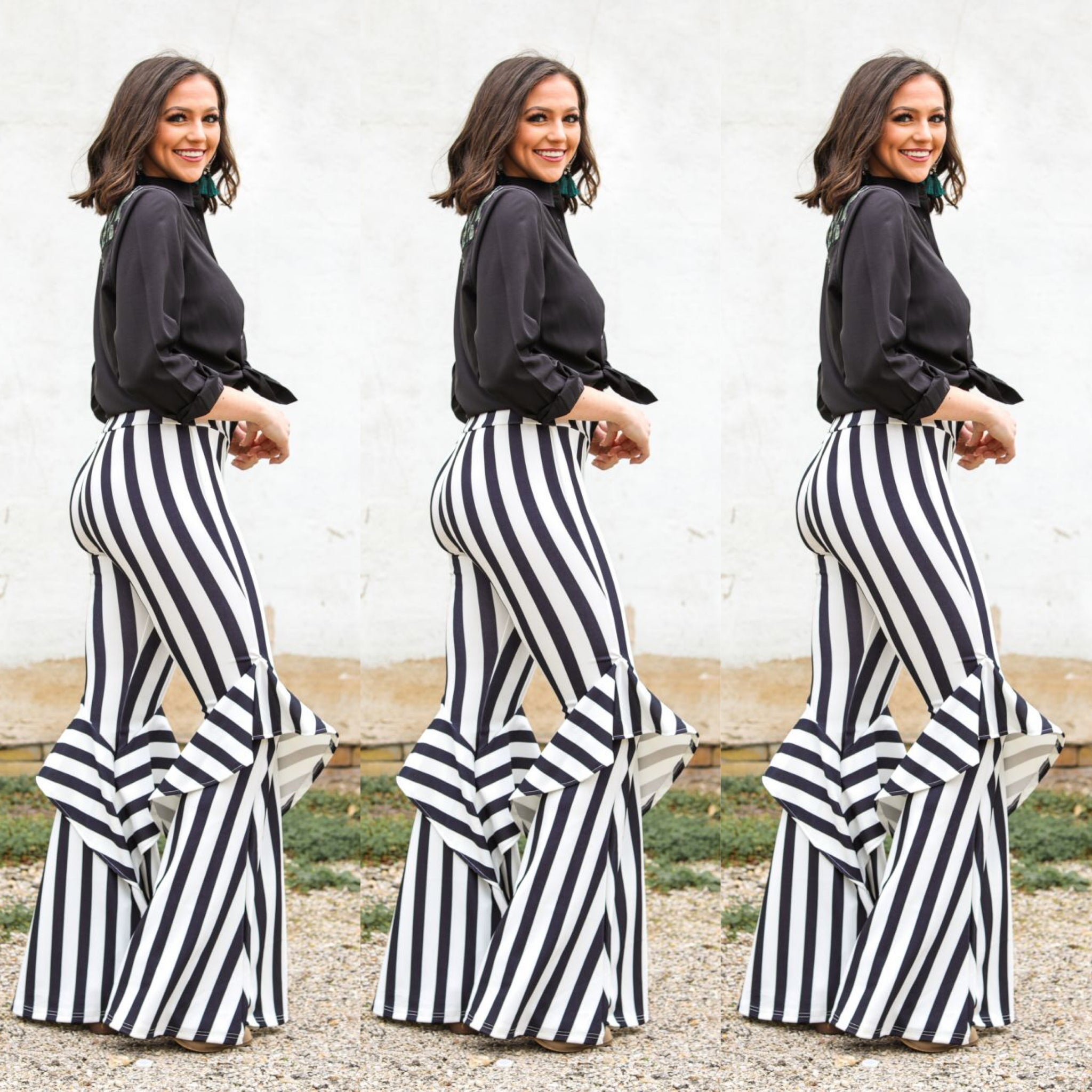 Black White Print Ruffle Wide Leg Pants (4513175765053)