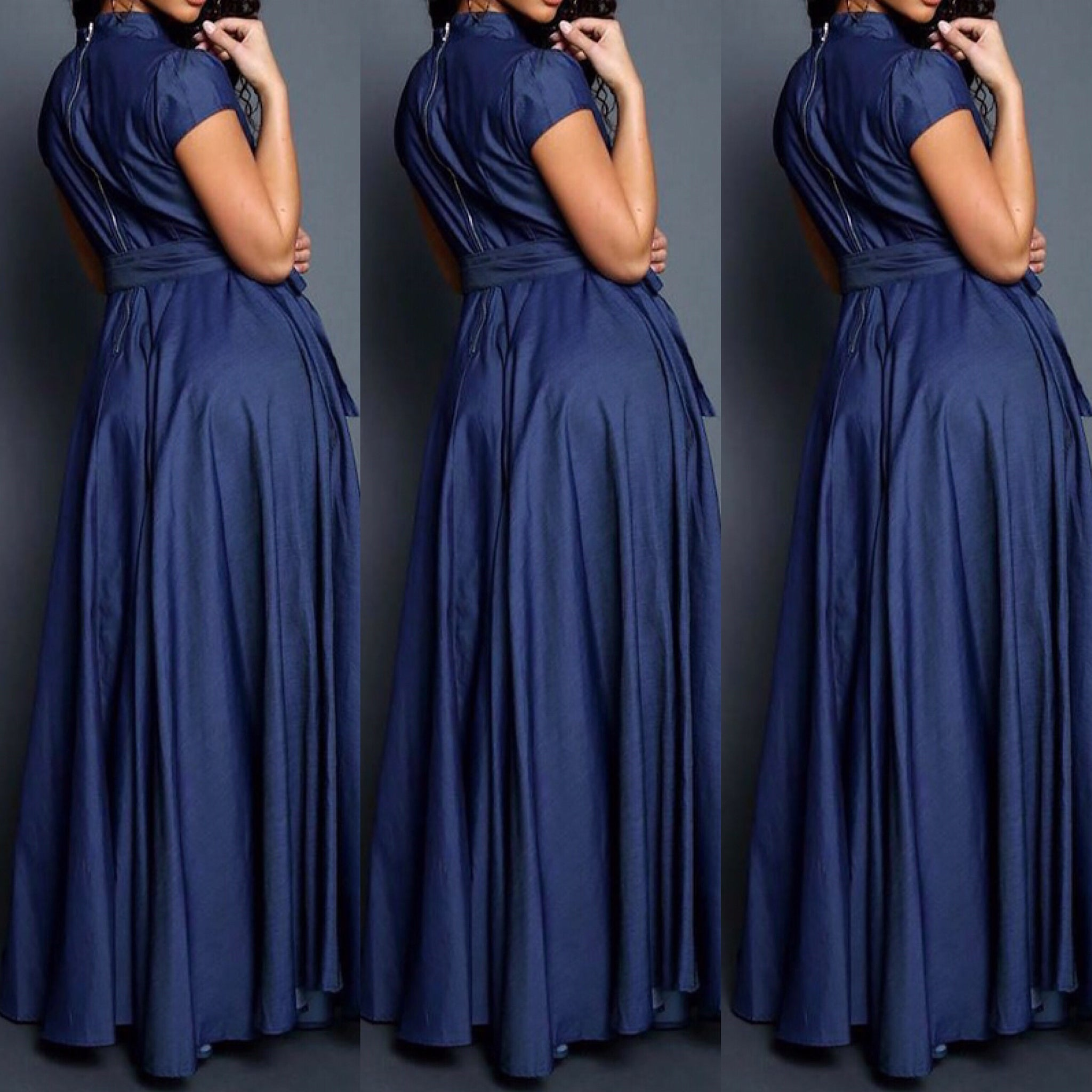 Denim Short Sleeve Maxi Dress - socialbutterflycollection-com (3675215429693)