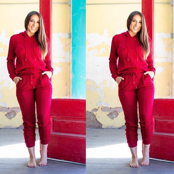Burgundy Red Wine Plus Size Two Piece Hoodie Pant Set