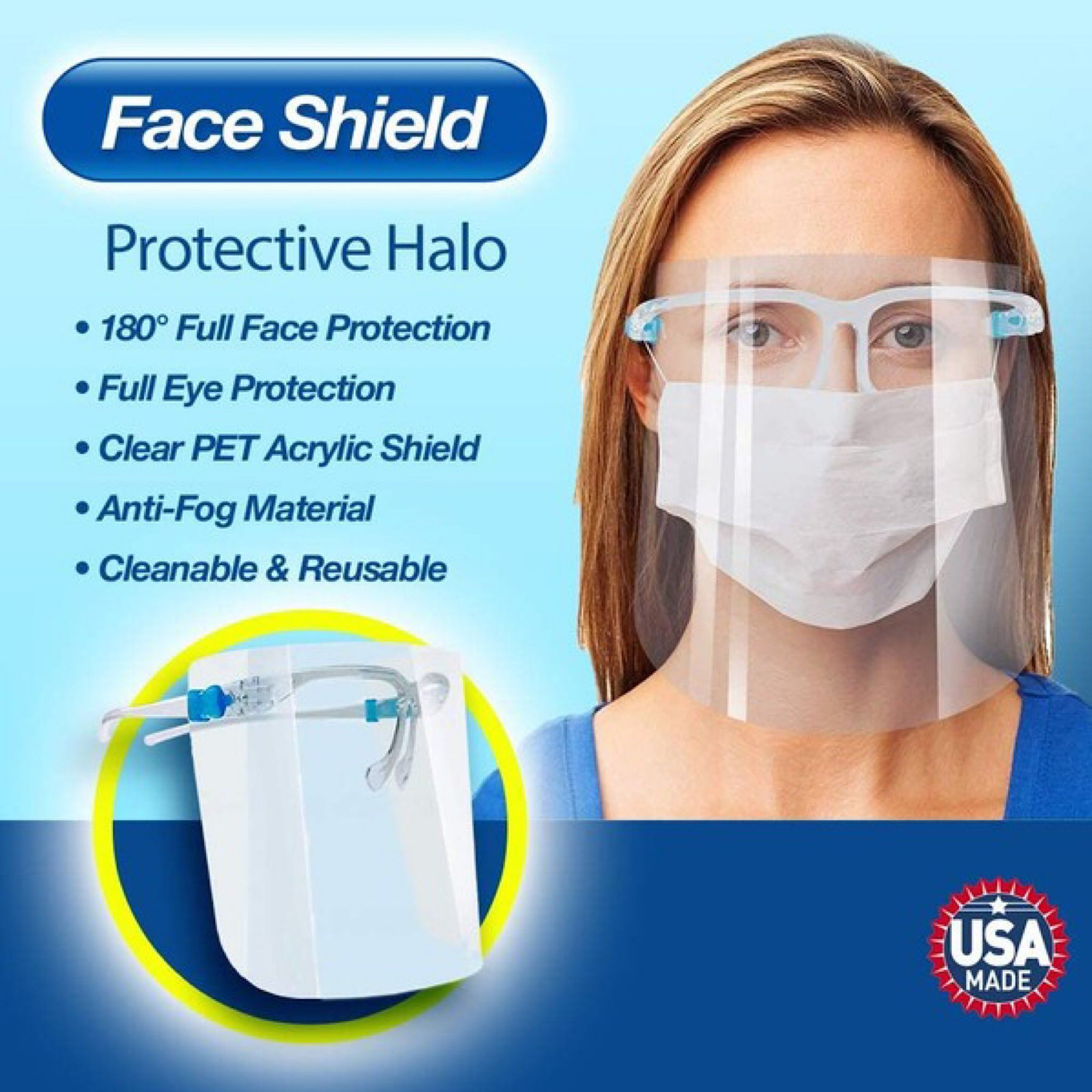 Clear Full Face Plastic Face Shield (4515510616125)
