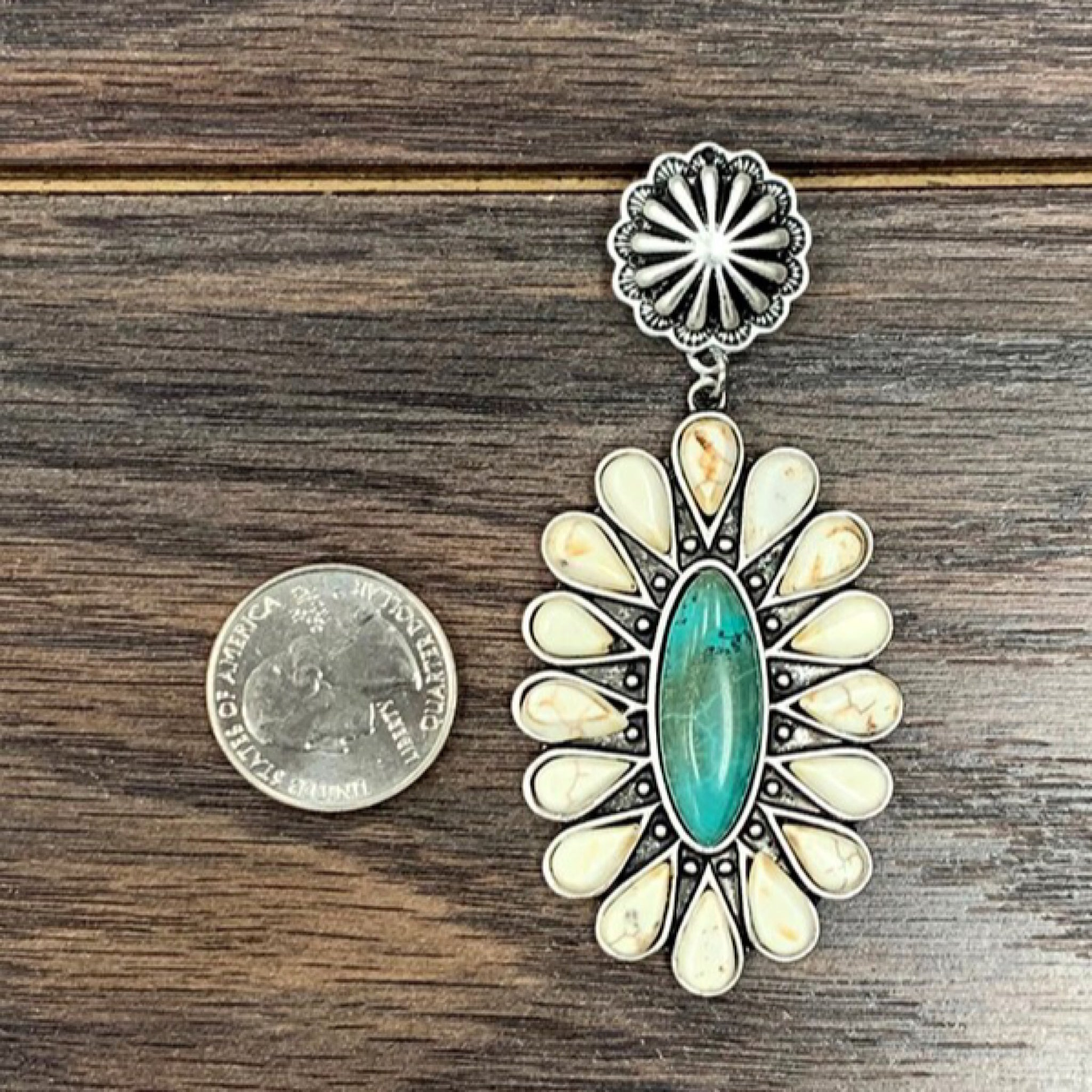 Bohemian Inspired Natural Turquoise Blossom Earrings (4515706241085)