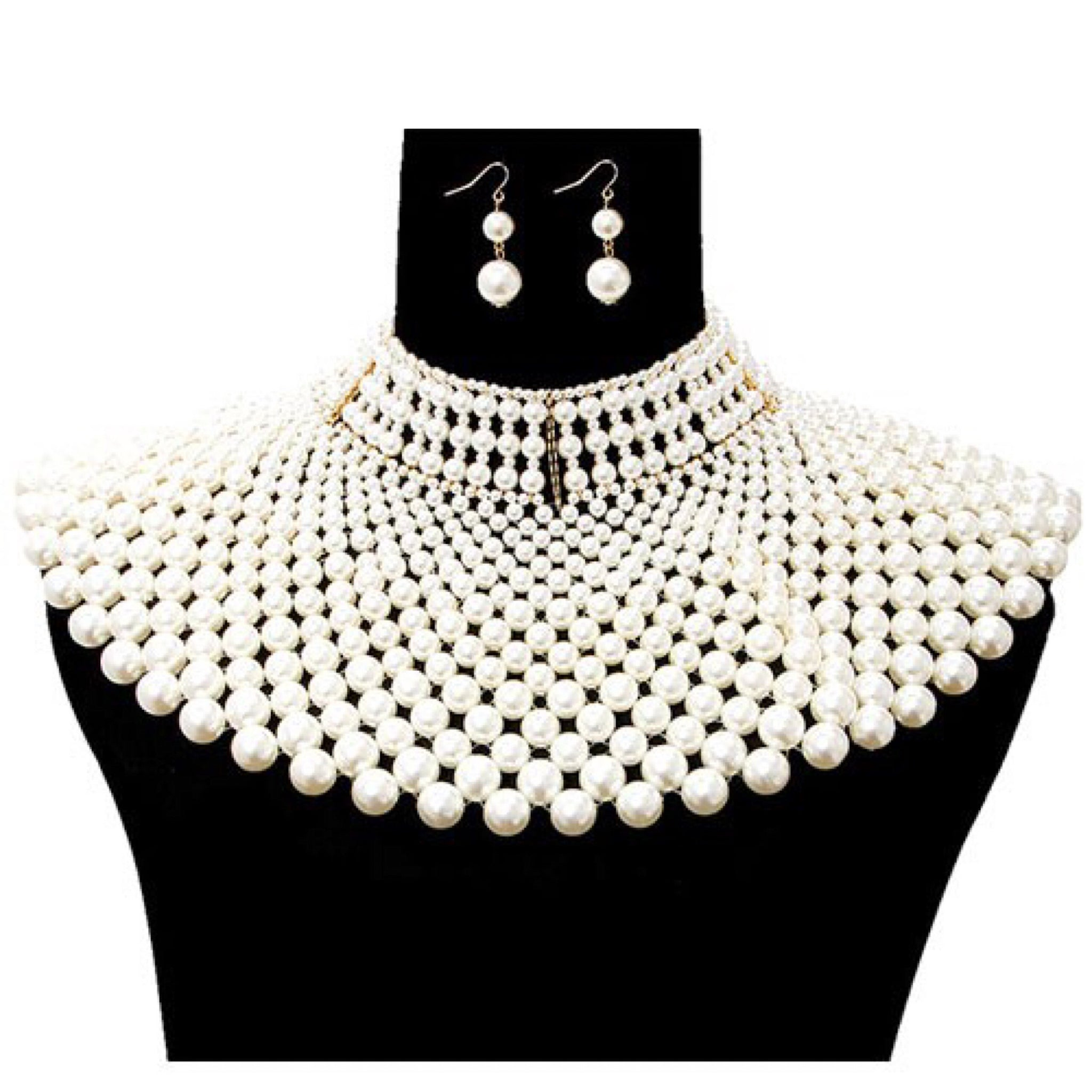 Large Pearl Choker Statement Necklace