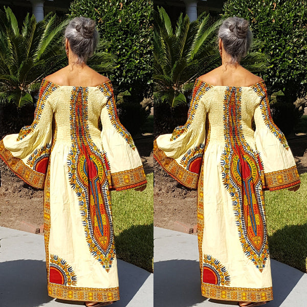 Light Yellow African Dashiki Print Kimono Sleeve Maxi Dress