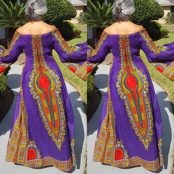 Purple African Dashiki Print Kimono Sleeve Maxi Dress