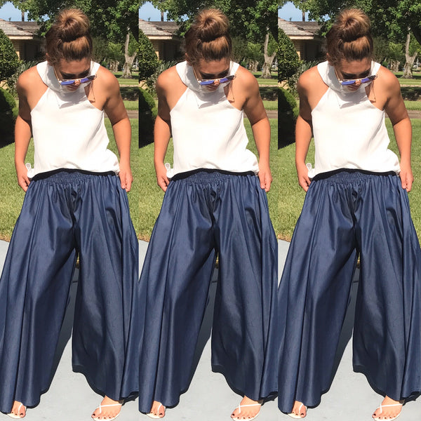 fa93b893dd Denim Wide Leg Palazzo Pants. Social Butterfly Collection