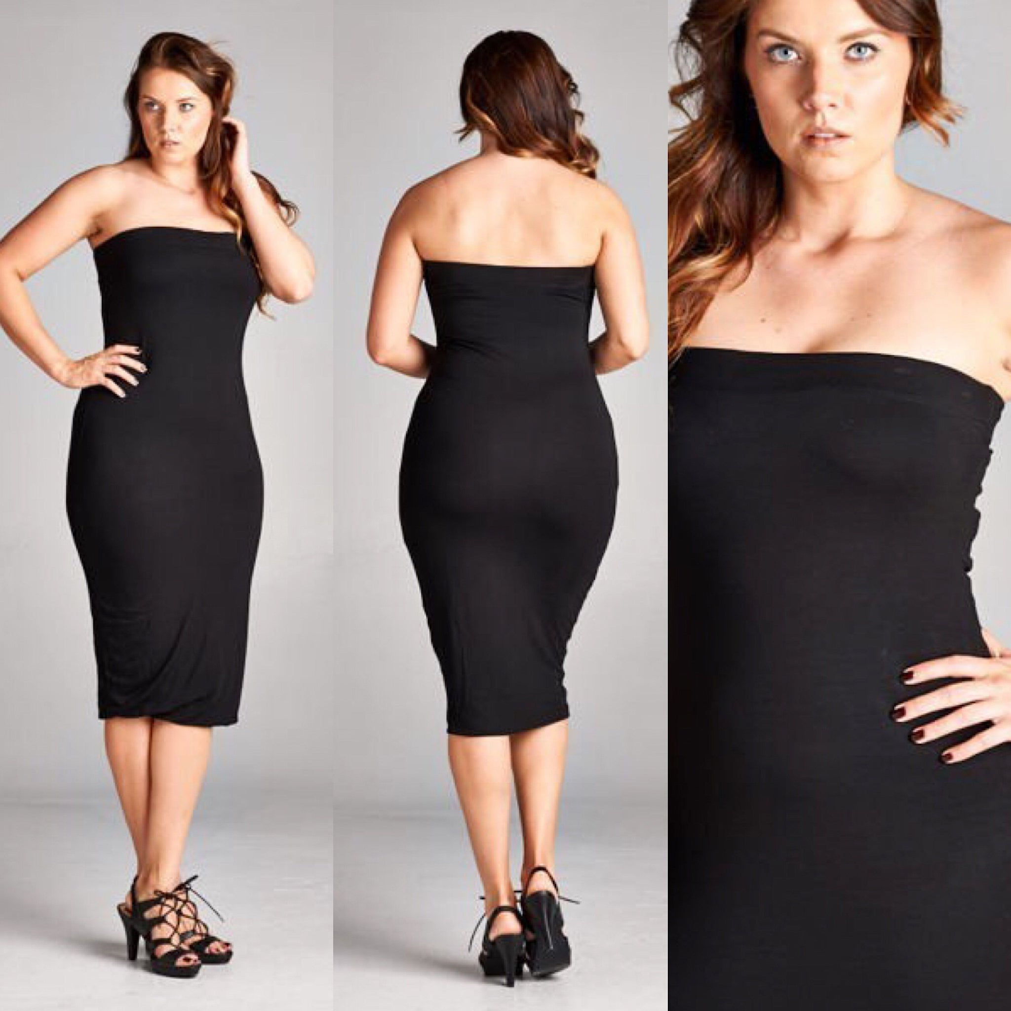 Buy Black Plus Size Strapless Tube Top Dress at Social Butterfly ...