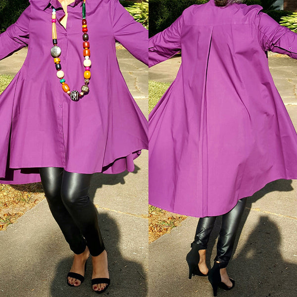 Buy Purple Cotton Button Down High Low Dress Top for $ 98.00