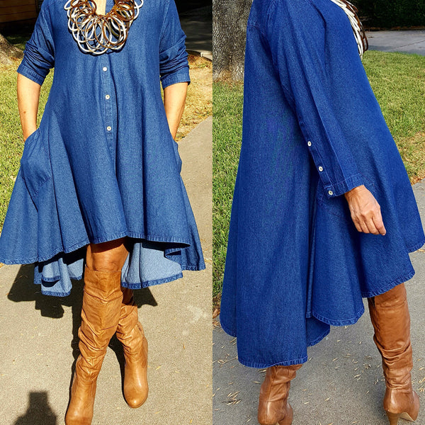 Buy Denim Blue Cotton Button Down High Low Dress Top for $ 98.00