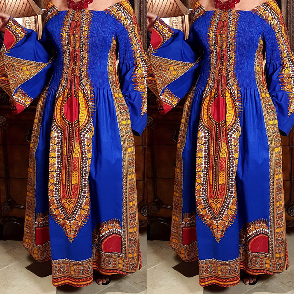 Royal Blue African Dashiki Print Kimono Sleeve Maxi Dress