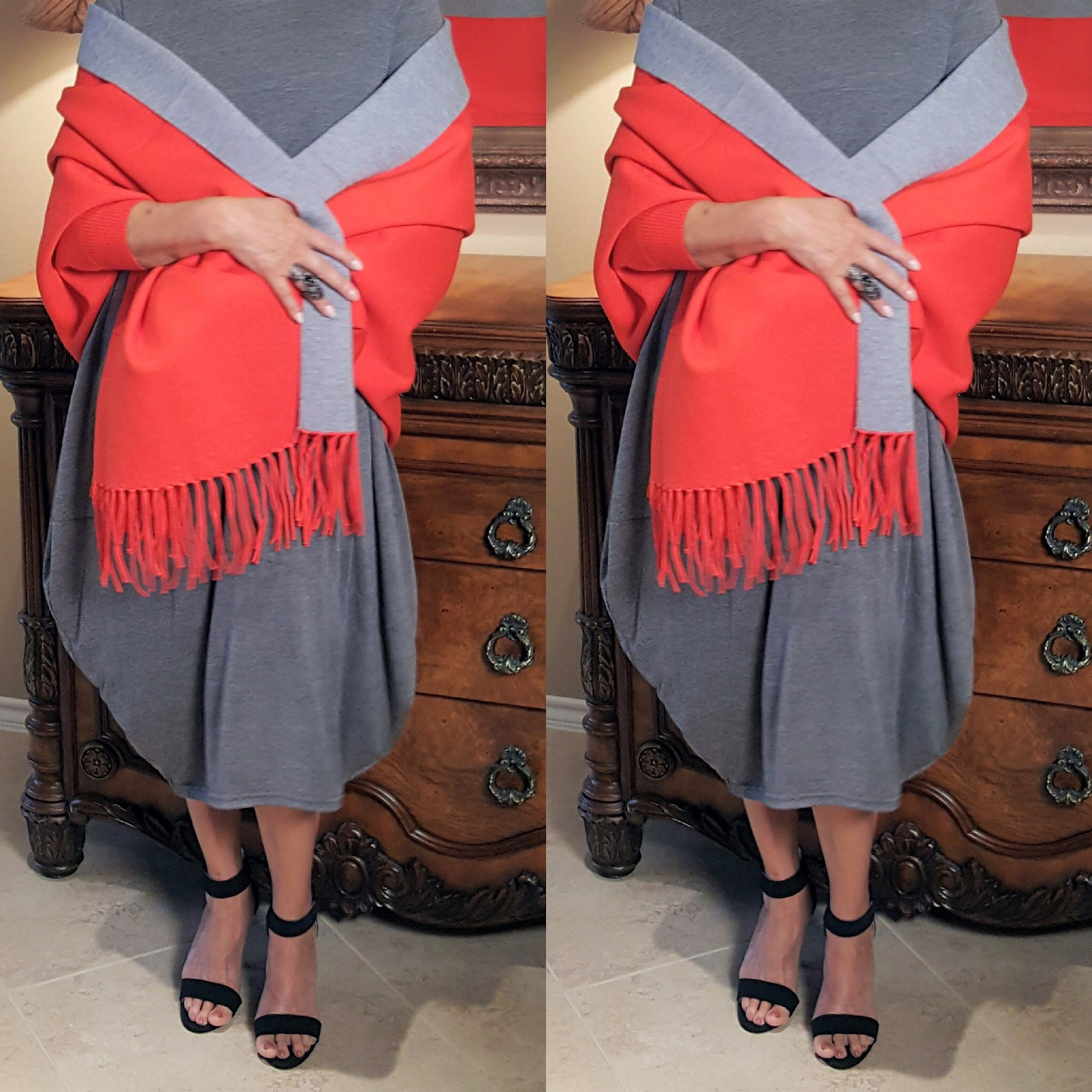 Orange Gray Two Tone Reversible Sleeved Shawl - socialbutterflycollection-com