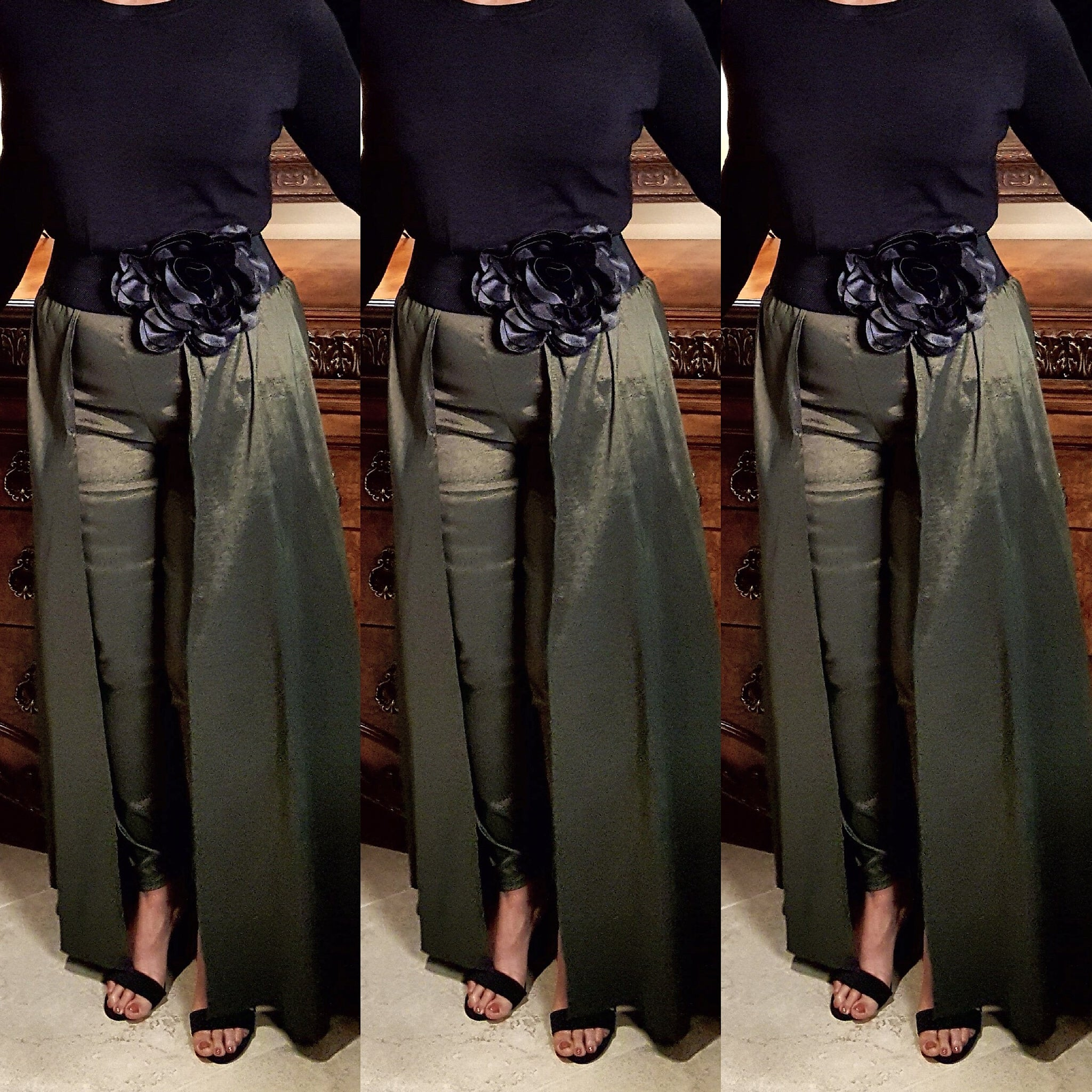Olive Green Pant Skirt Combo - socialbutterflycollection-com