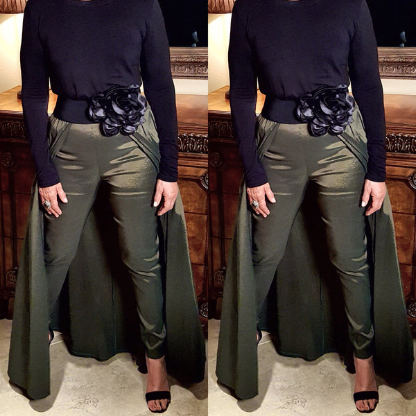 Olive Green Pant Skirt Combo