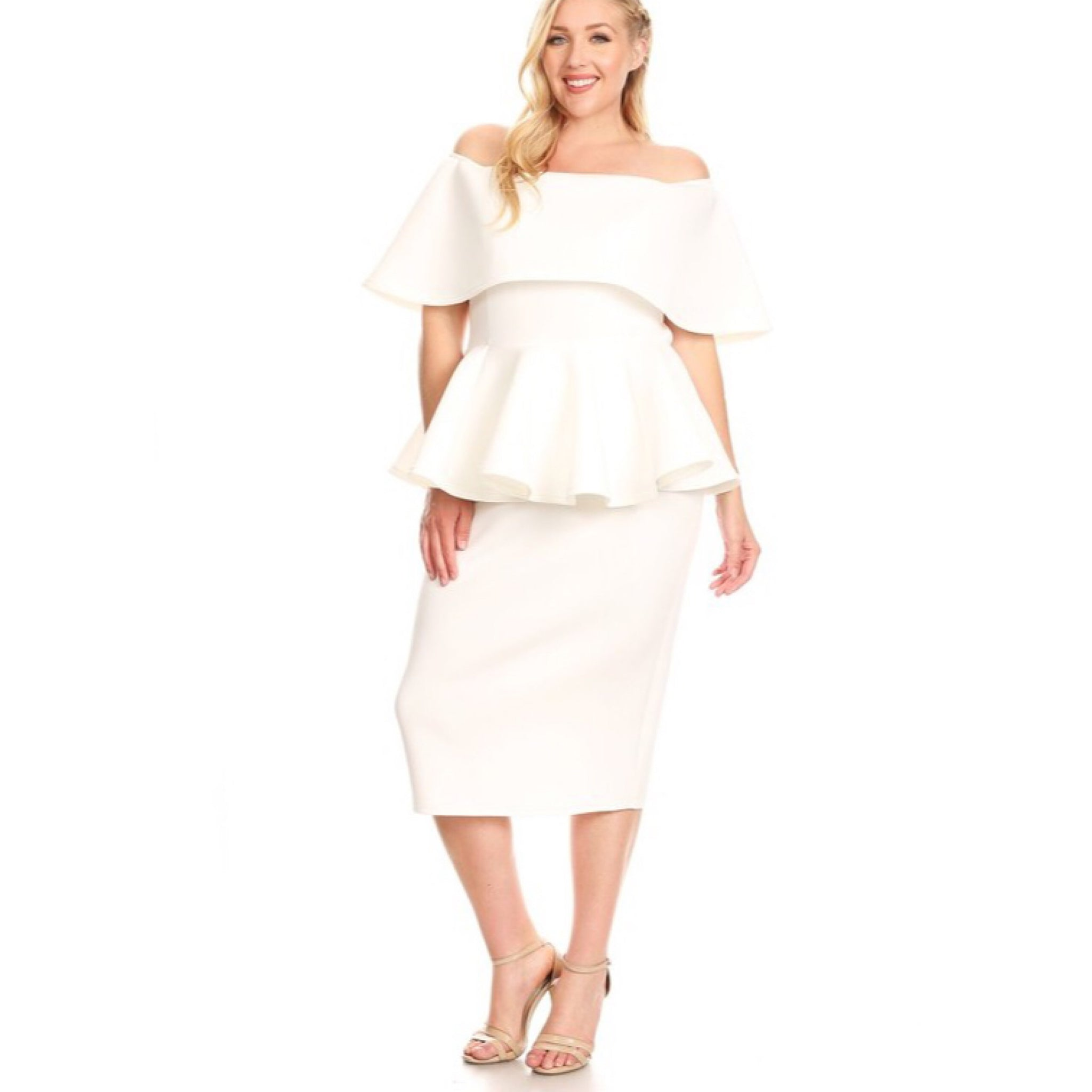 Plus Size Off White Off The Shoulder Peplum Dress - socialbutterflycollection-com (3944919990333)