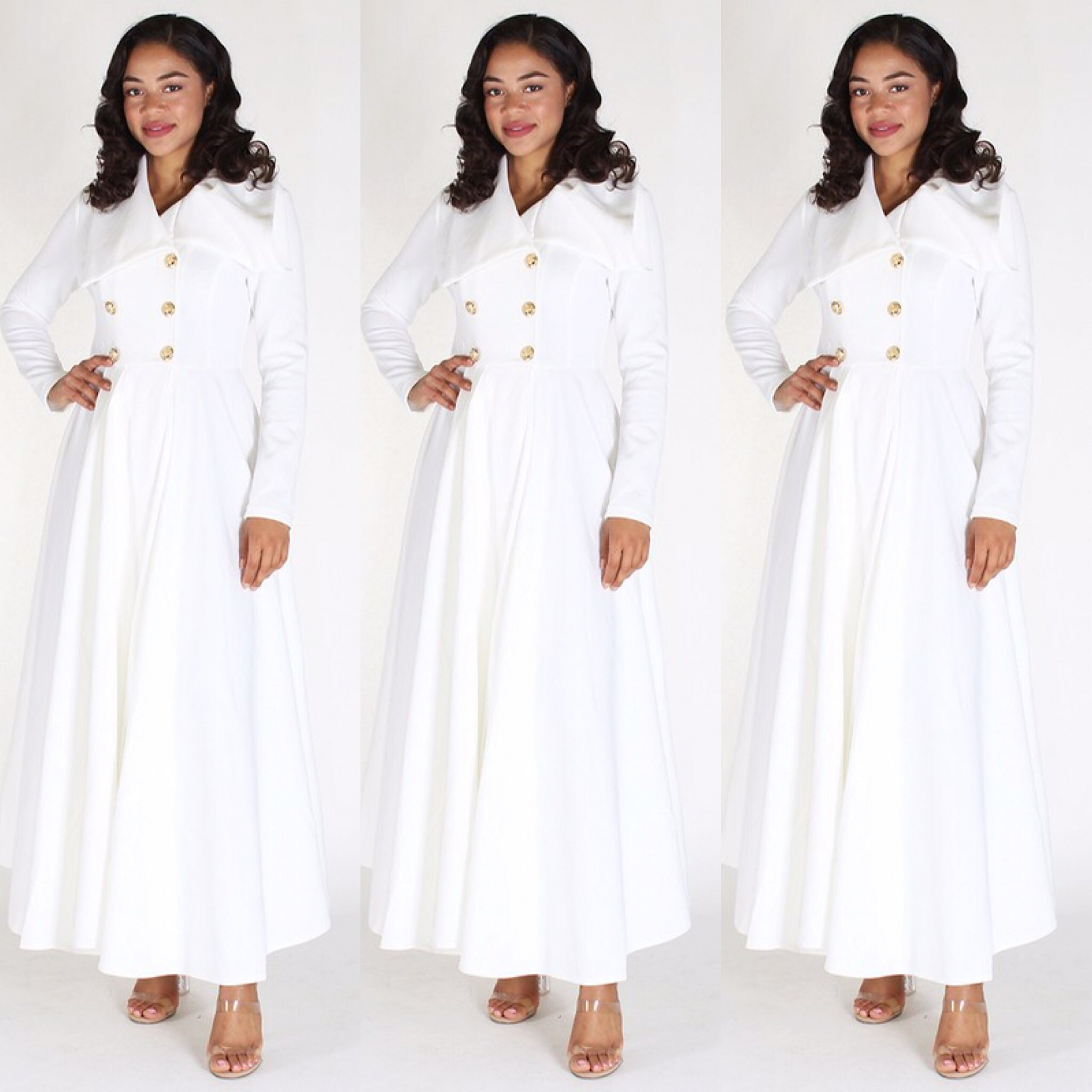 Long Off White Duster Coat Dress - socialbutterflycollection-com