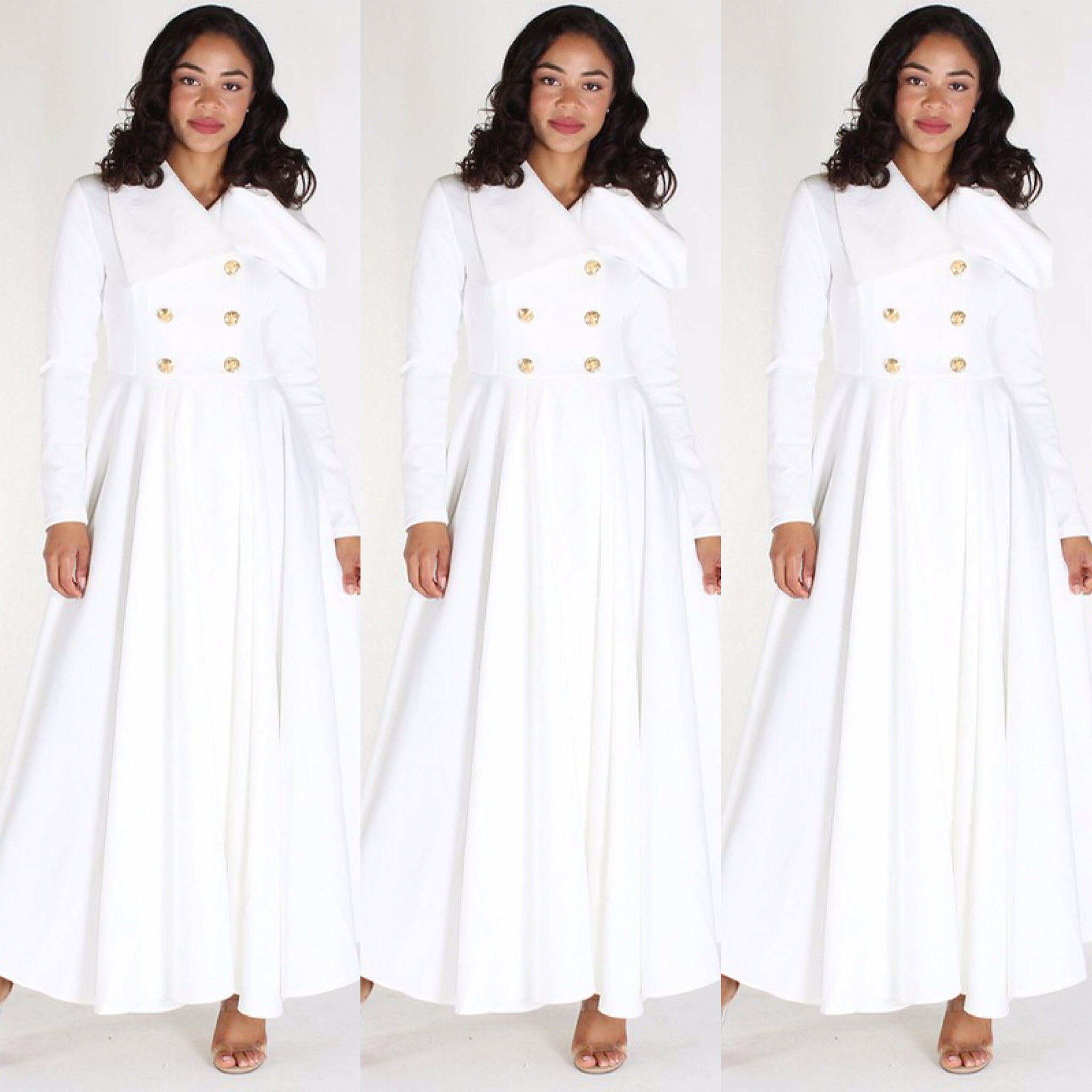 Long Off White Duster Coat Dress