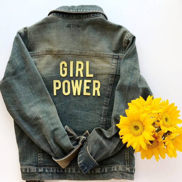 DIY Metallic Gold Embroidered Letters on Denim